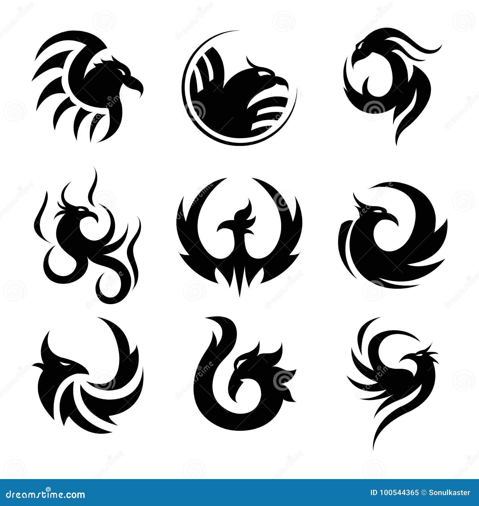 Czarny Tatuażu Szablon Feniks Odizolowywał Ilustracje