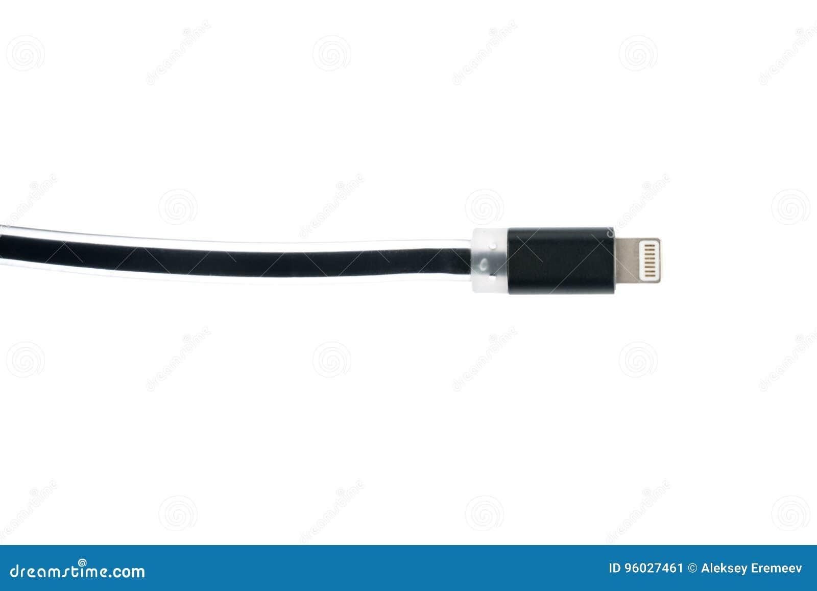 Czarny USB włącznika kabel dla iPhone lub iPad, na białym odosobnionym tle Horyzontalna rama
