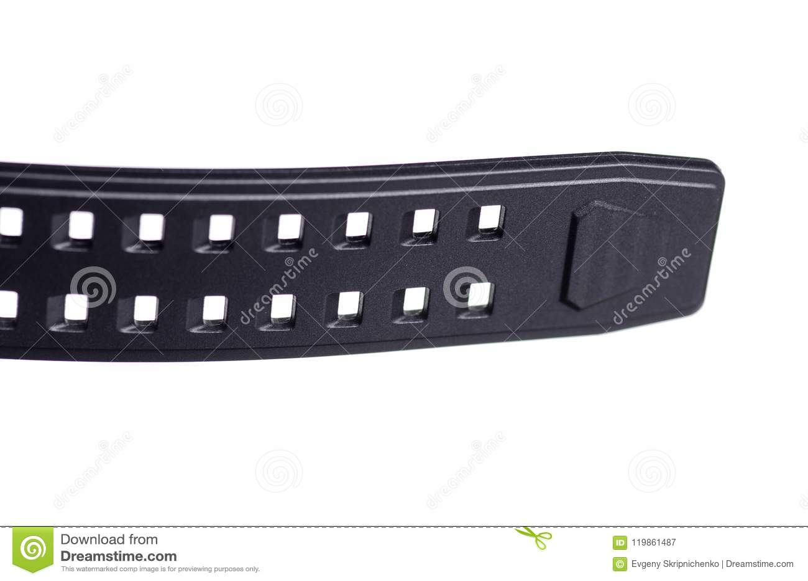 Czarny zegarek z gumowym bransoletka sportem makro-