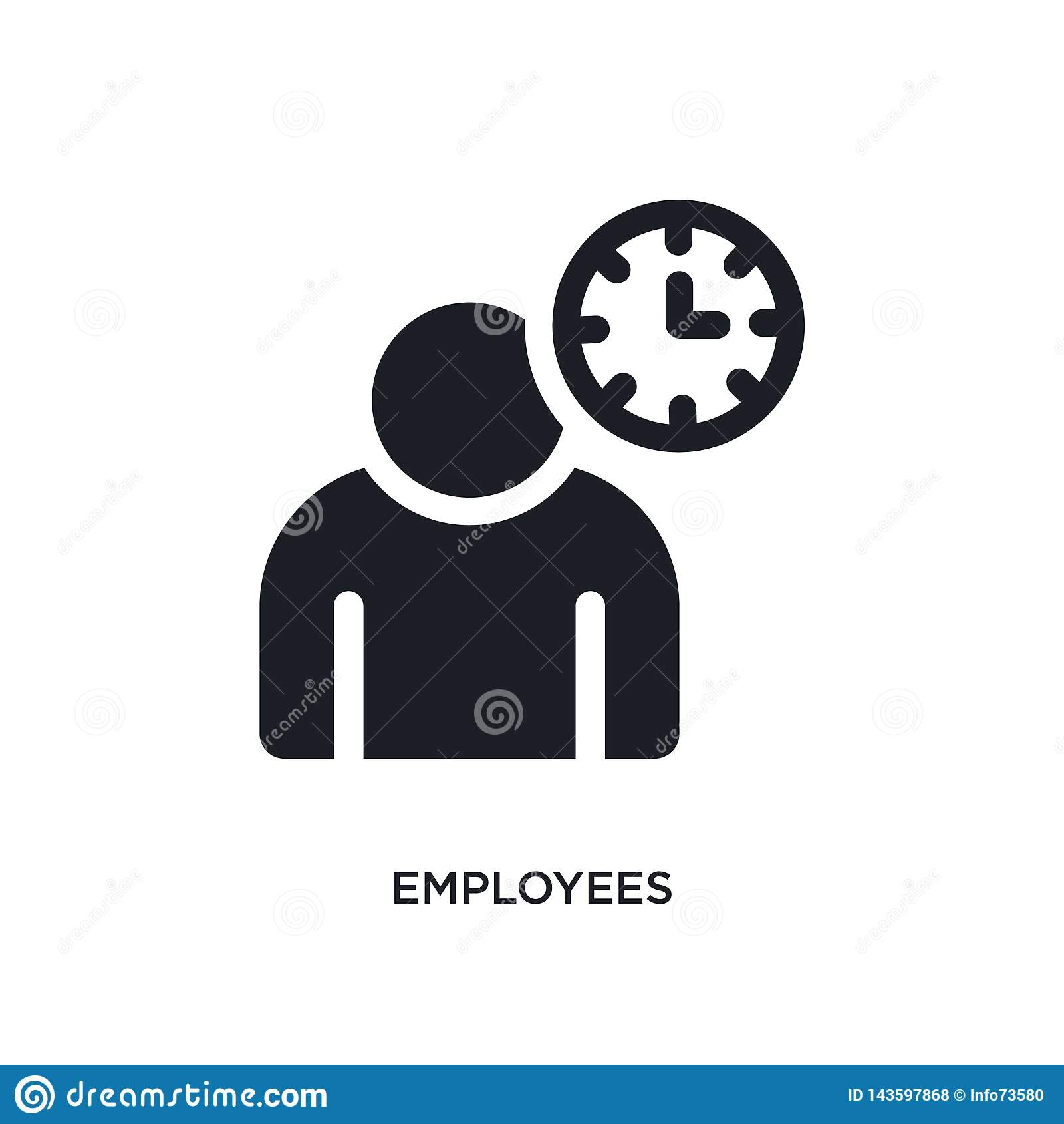 Czarnych pracowników odosobniona wektorowa ikona prosta element ilustracja od czasu zarz?dzania poj?cia wektoru ikon pracownicy e