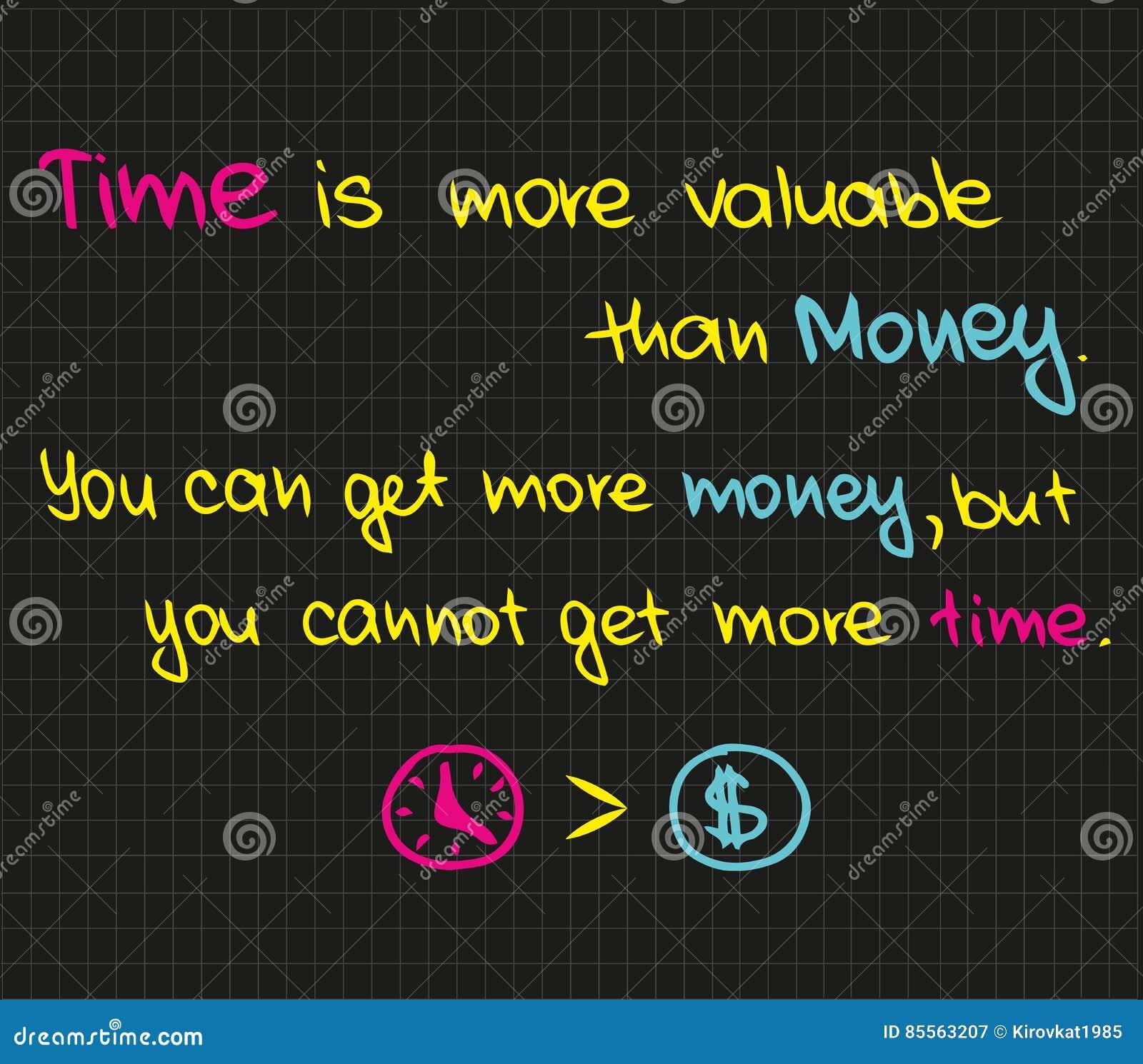 Czas Jest Wartościowy Niż Pieniądze Ilustracja Wektor