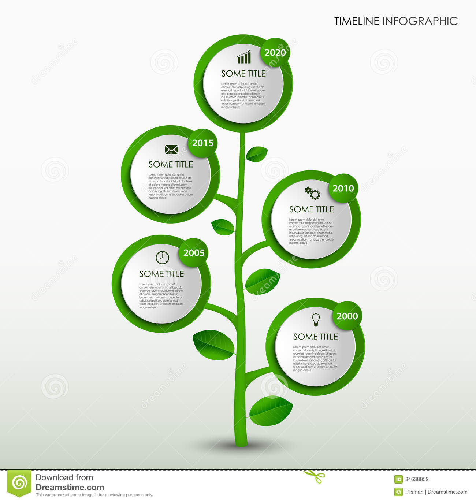 Czas linii ewidencyjna grafika z abstrakcjonistycznym projekt zieleni drzewa szablonem