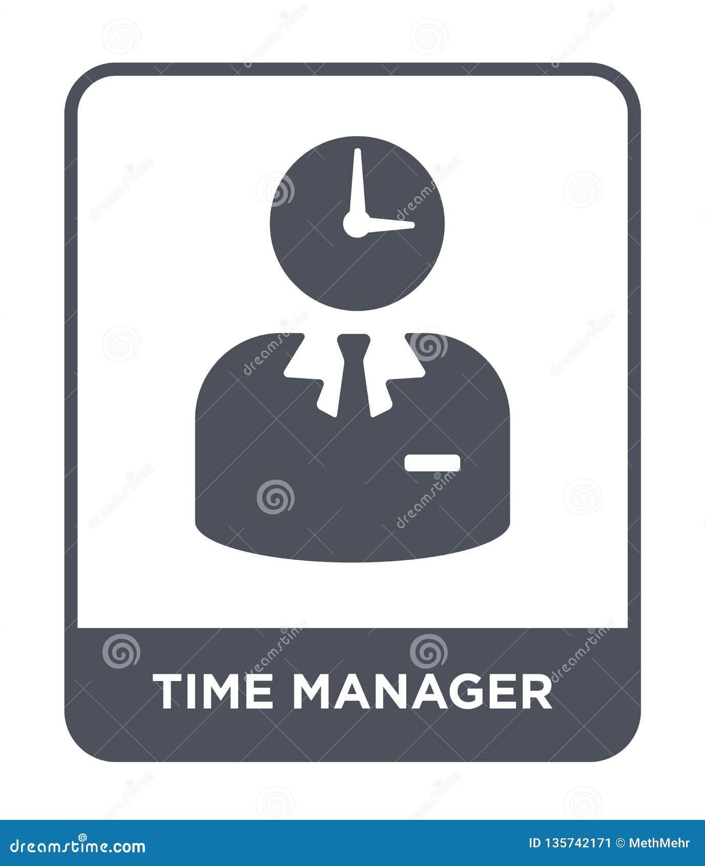 Czasu kierownika ikona w modnym projekta stylu czasu kierownika ikona odizolowywająca na białym tle czasu kierownika wektorowa ik