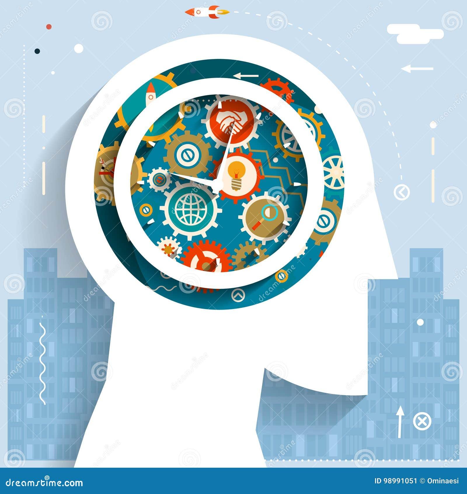 Czasu zarządzania biznesmena głowy pomysłu pokolenia przekładni koła ikon miasta początku Astronautycznego tła projekta Płaski os