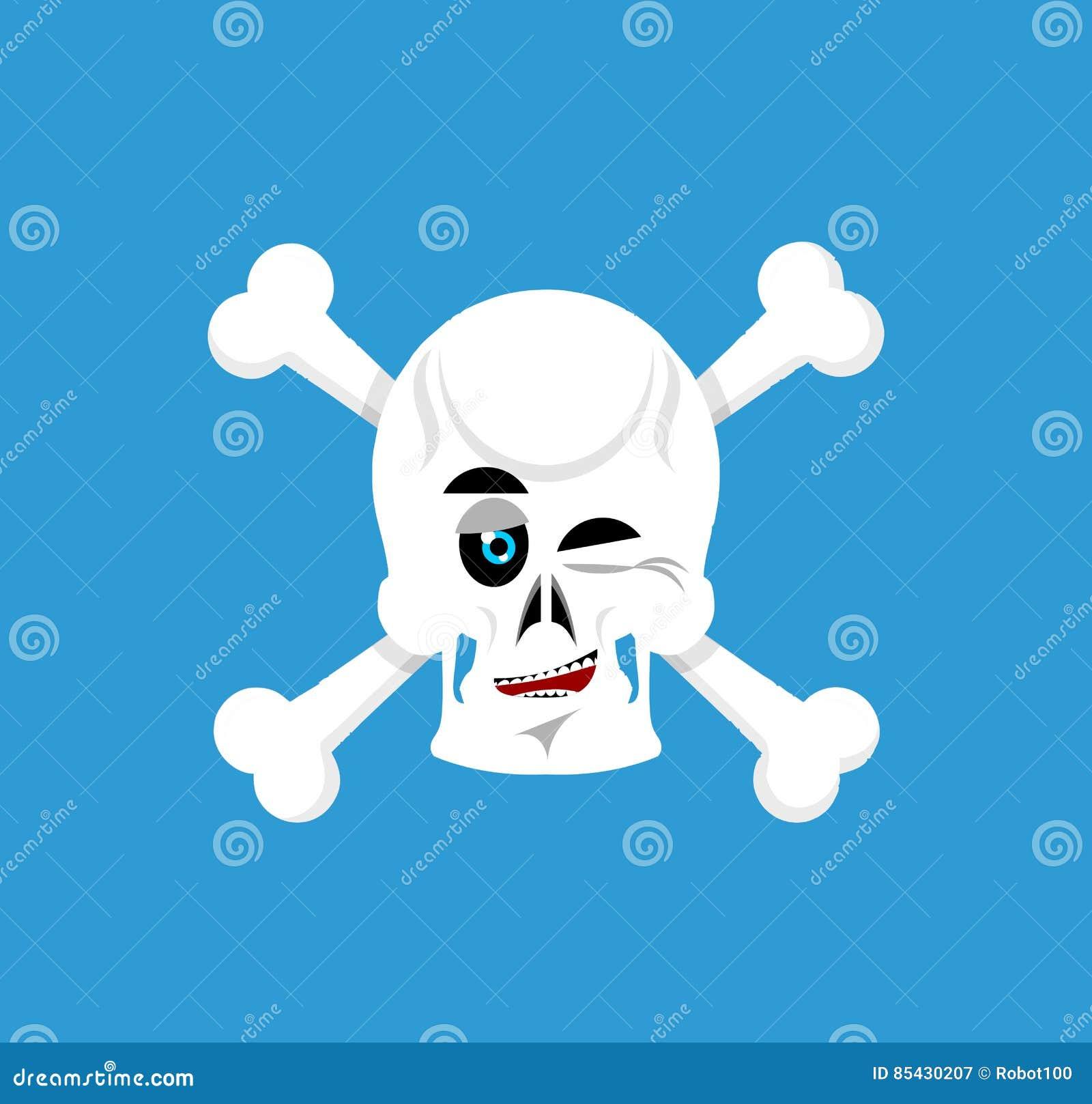 Czaszka i crossbones mrugnięcia Emoji kościec kierownicza szczęśliwa emocja ja