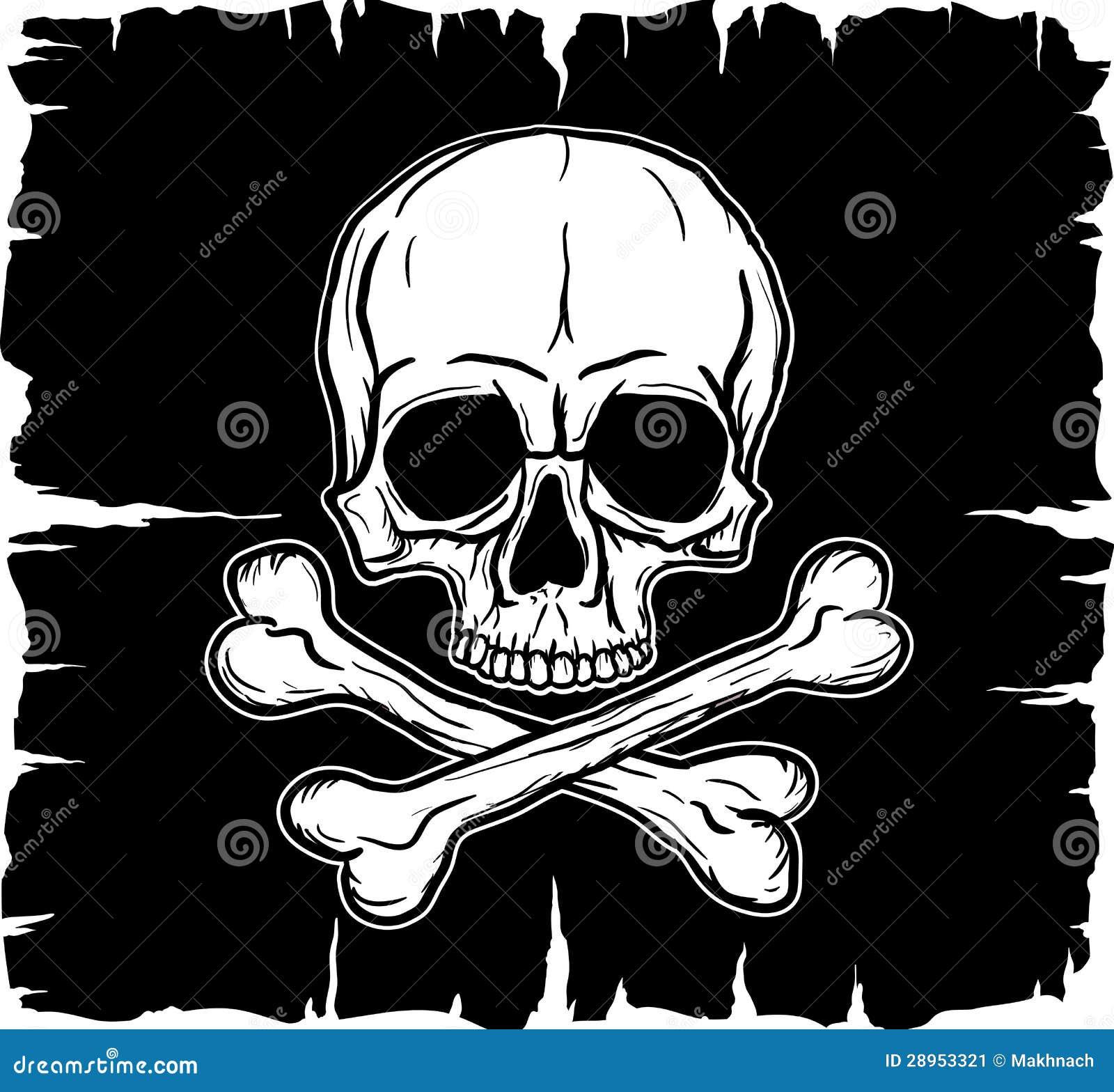Czaszka i Crossbones nad czarną flaga