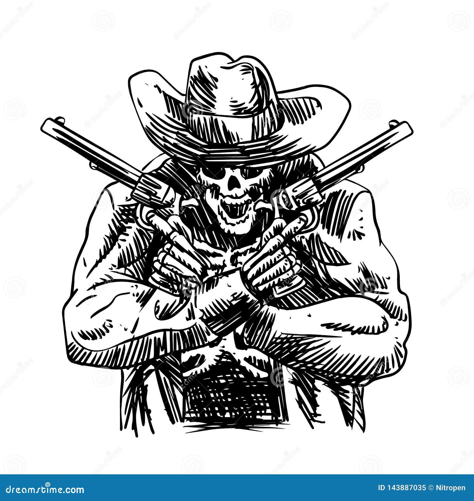 Czaszka kowboj w zachodnim kapeluszu i para krzyżujący armatni kolt