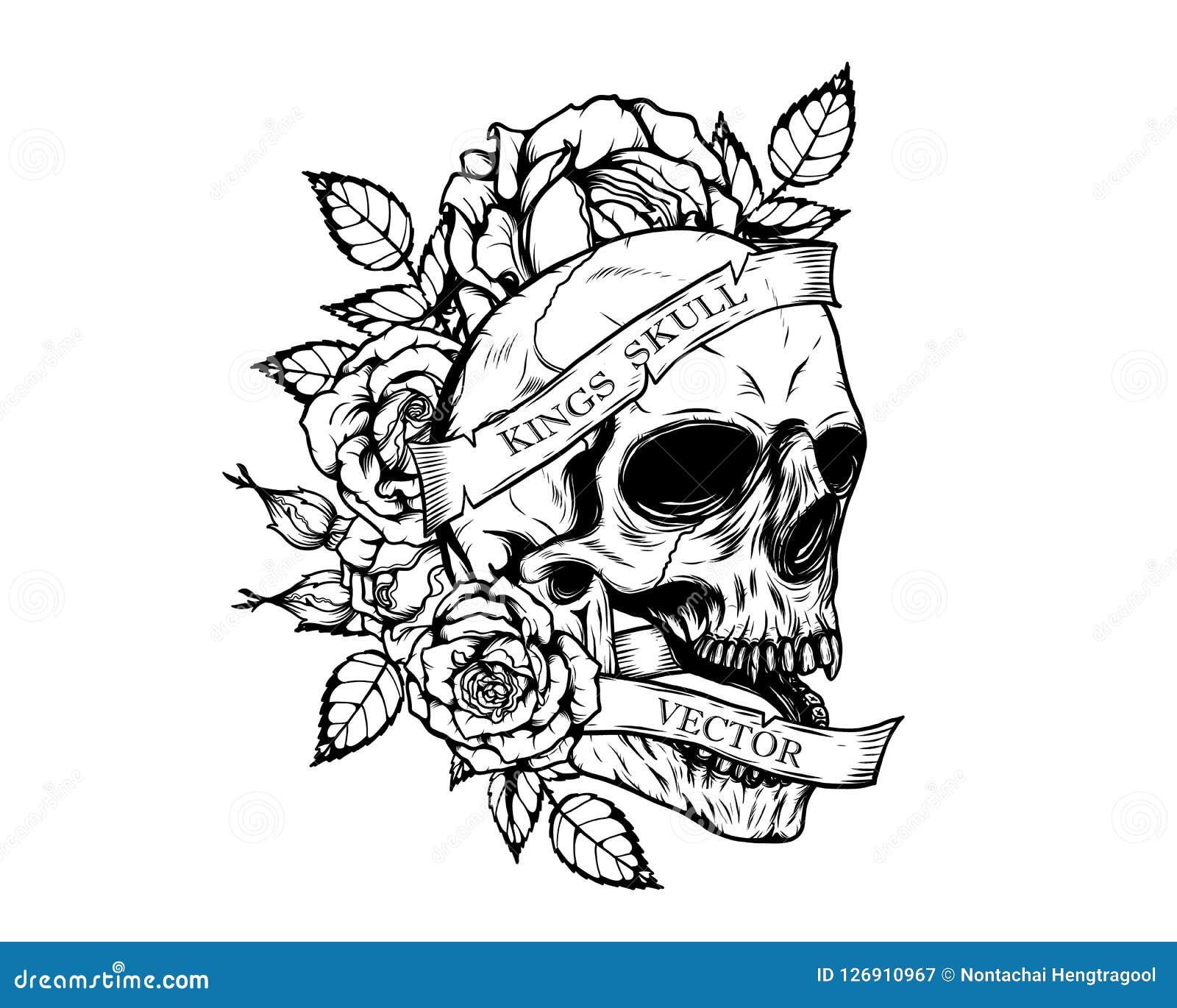 Czaszka Z Róża Tatuażem Ręka Rysunkiem Ilustracja Wektor