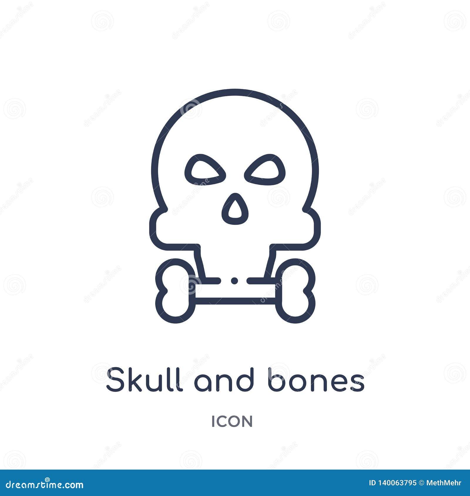 Czaszki i kości ikona od nautycznej kontur kolekcji Cienieje kreskową czaszki i kości ikonę odizolowywającą na białym tle