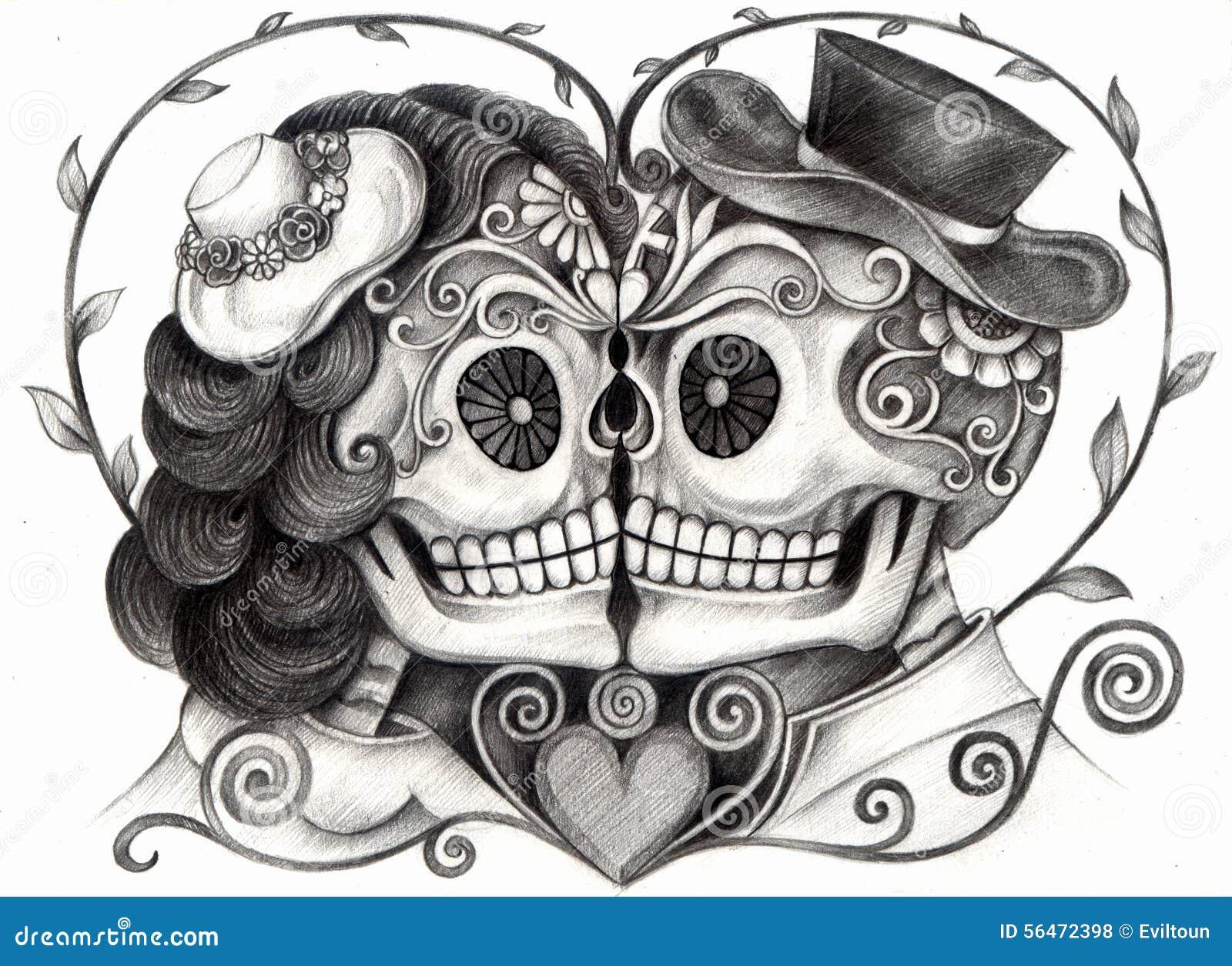 Czaszki sztuki dzień ślubu nieboszczyk