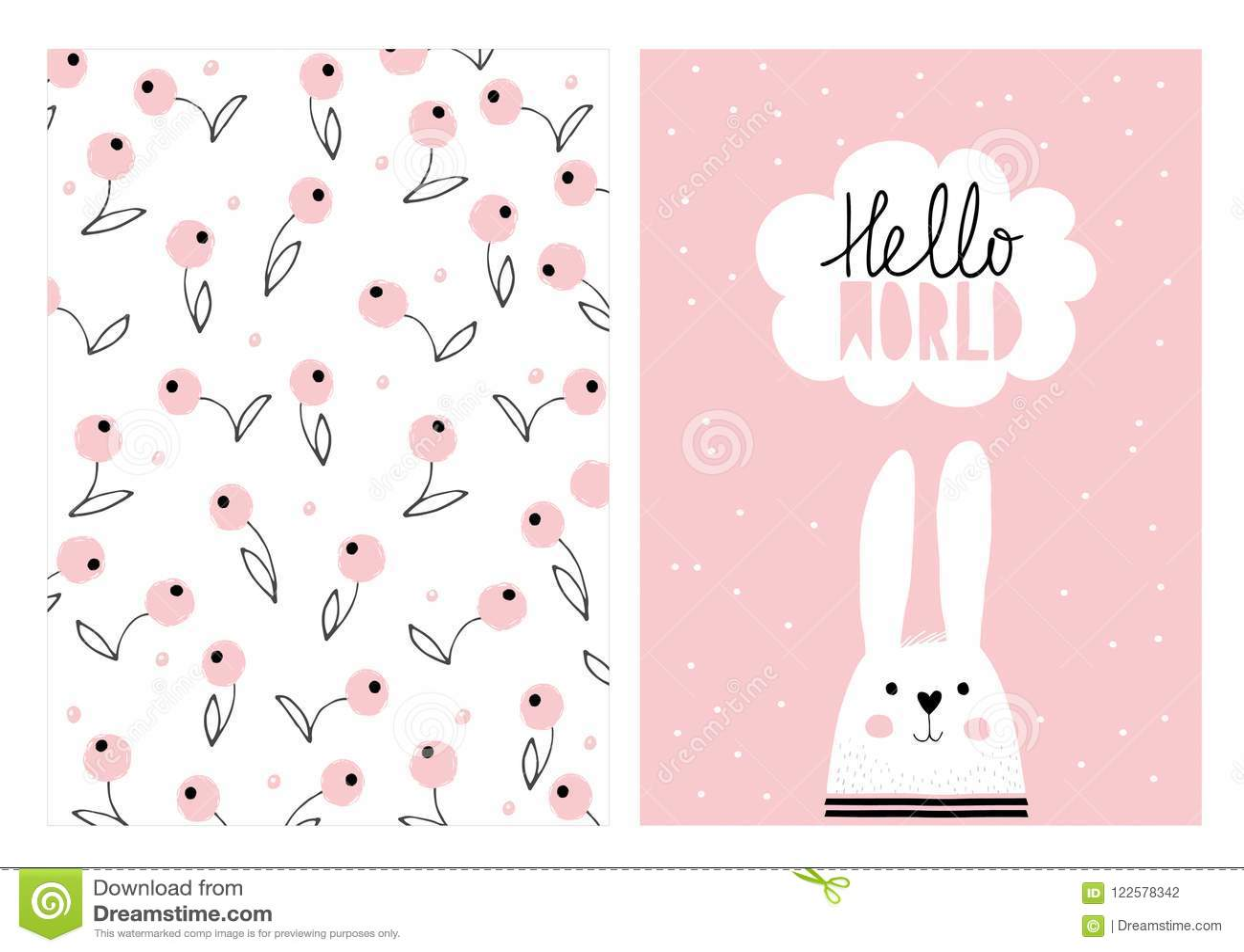 Cześć świat, Biały Śliczny królik Ręka Rysujący dziecko prysznic ilustraci Wektorowy set