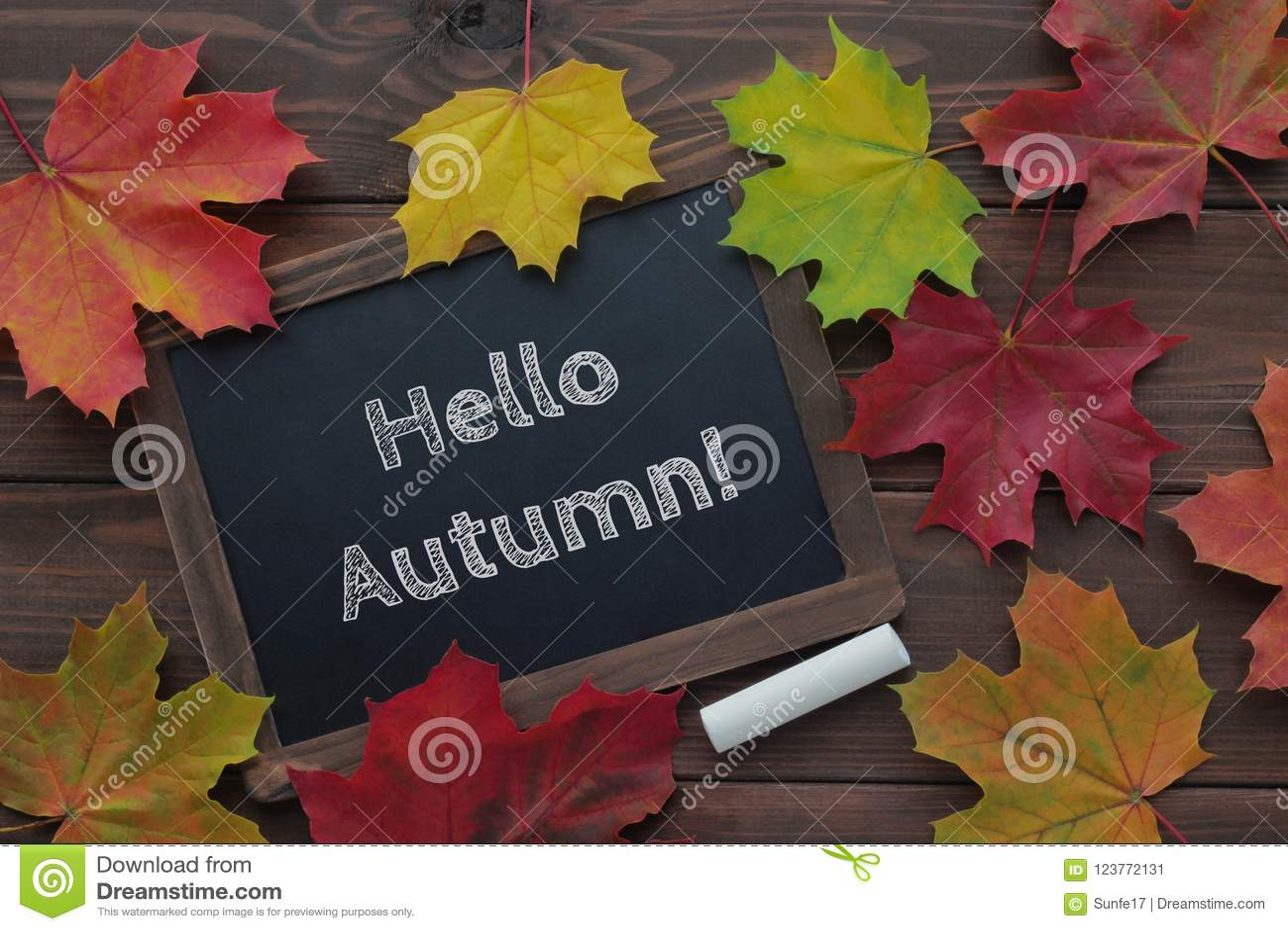 Cześć jesień tekst na chalkboard