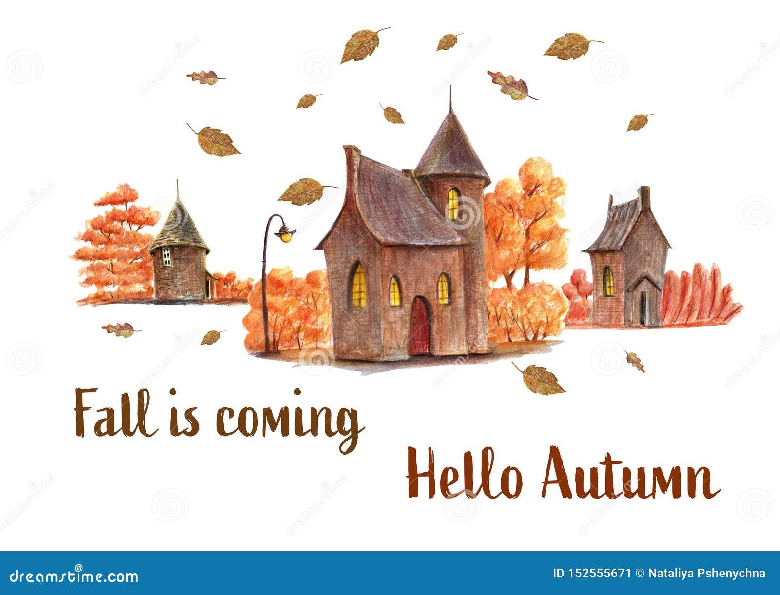 Cześć jesieni ręka rysująca ilustracja