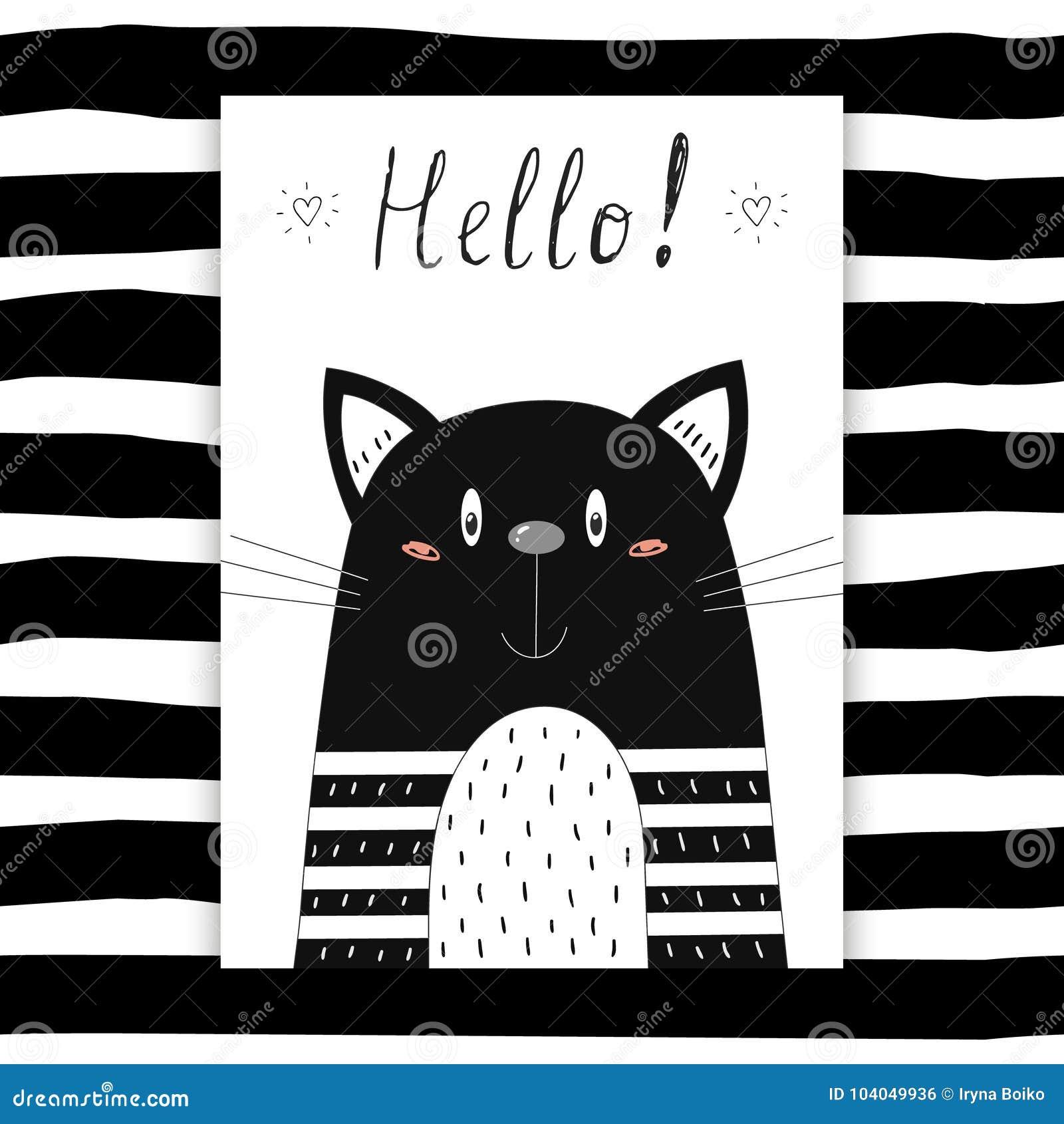 Cześć karta Ręka Rysujący śliczny Śmieszny kot Printable szablon