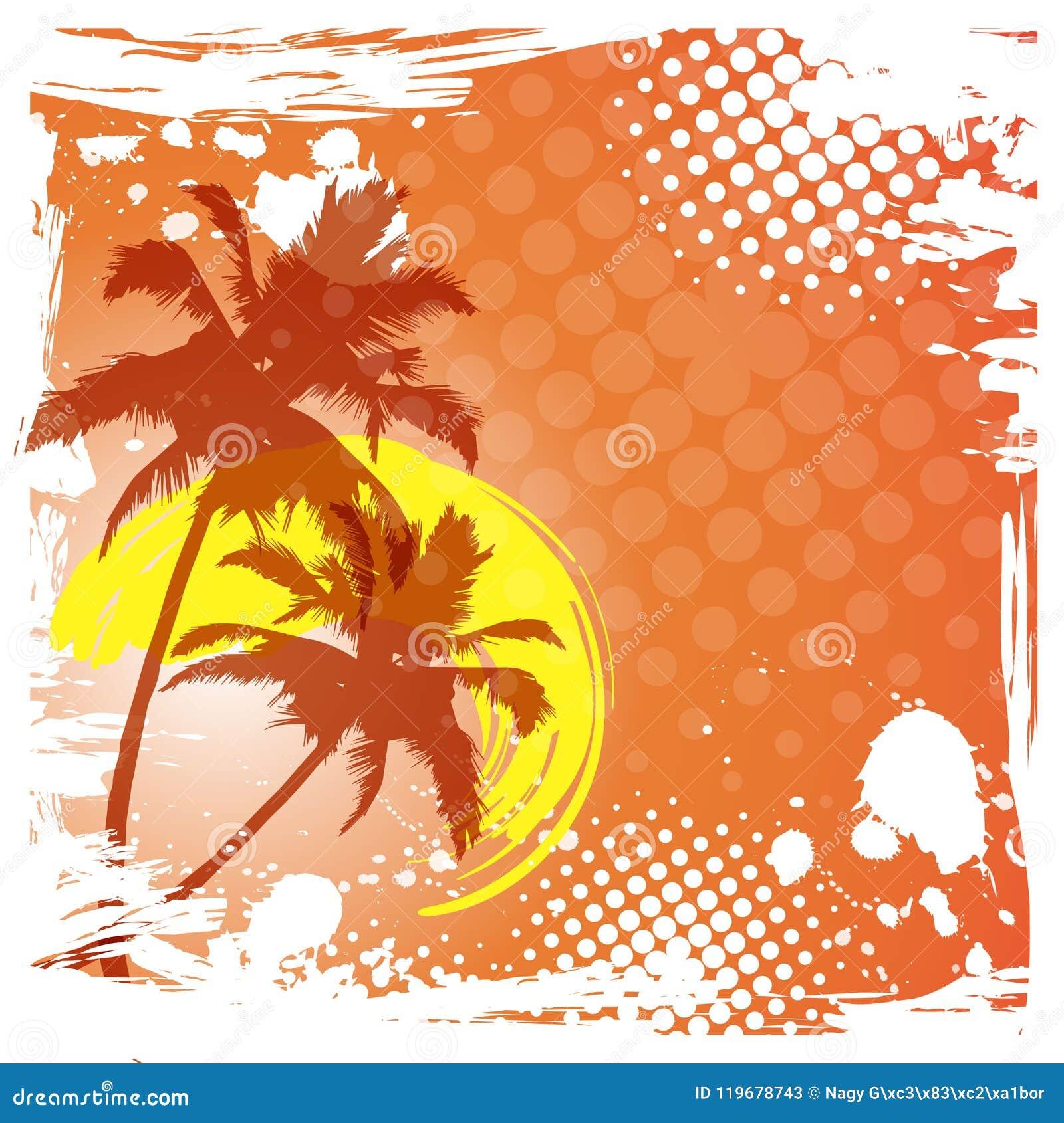 Cześć lata literowanie DRZEWKO PALMOWE gradientu zmierzch tropikalny tło raj