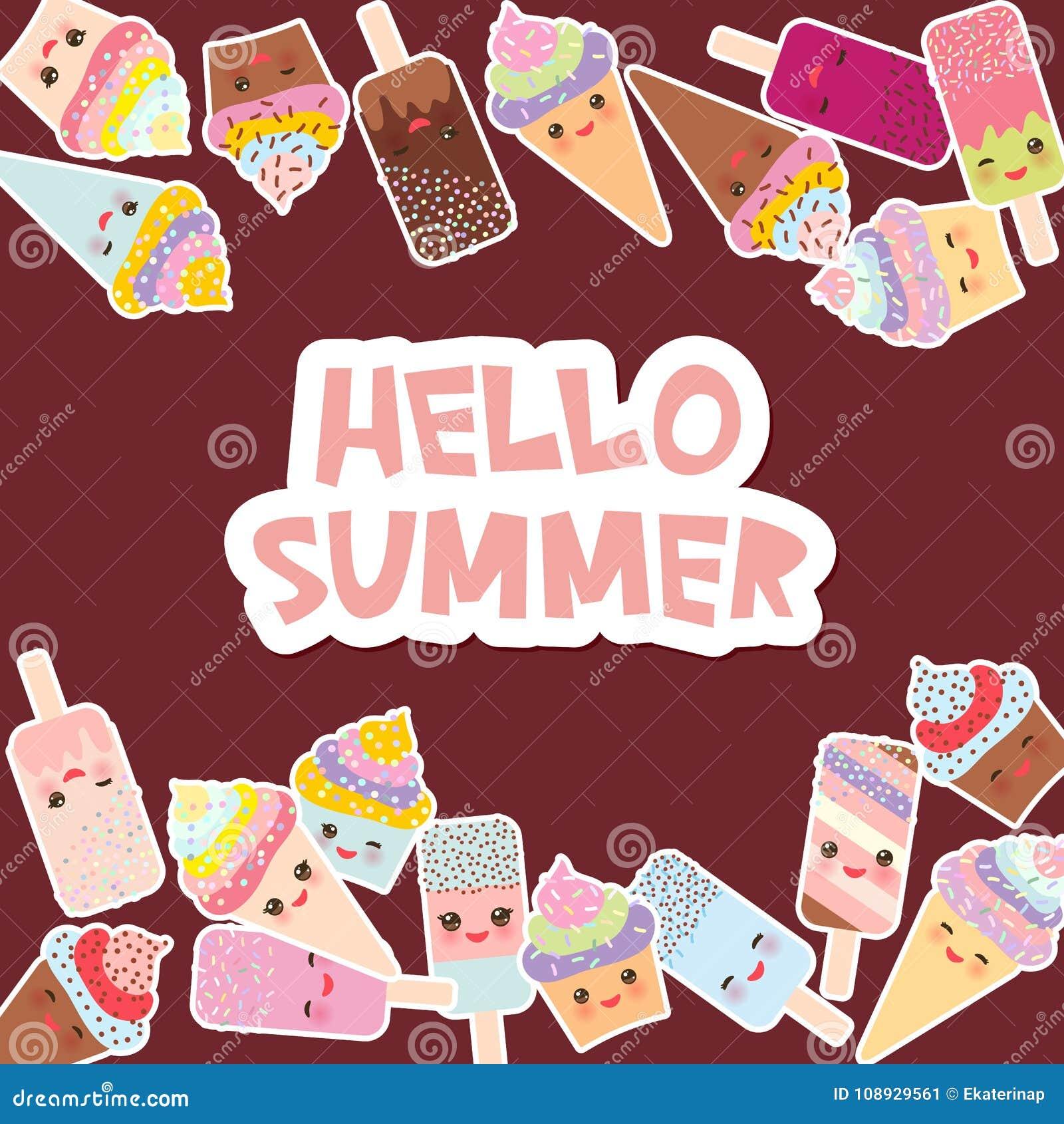 Cześć lato Karciany projekt dla twój teksta babeczki z śmietanką, lody w gofrów rożkach, lodowym lolly Kawaii z różowymi policzka