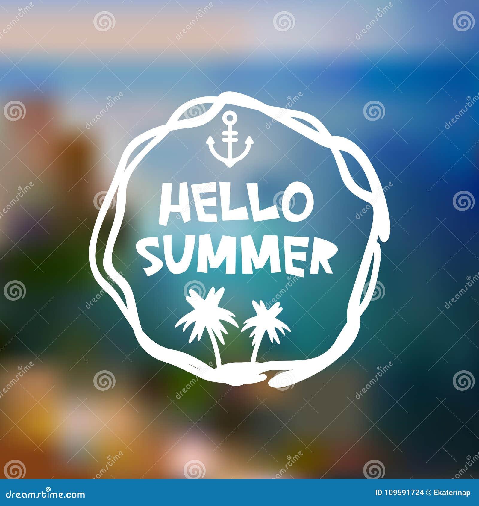 Cześć lato karciany projekt, sztandaru szablonu plaży halna wyspa na błękitnych fala oceanu plamy dennym tle, bielu zielony błęki