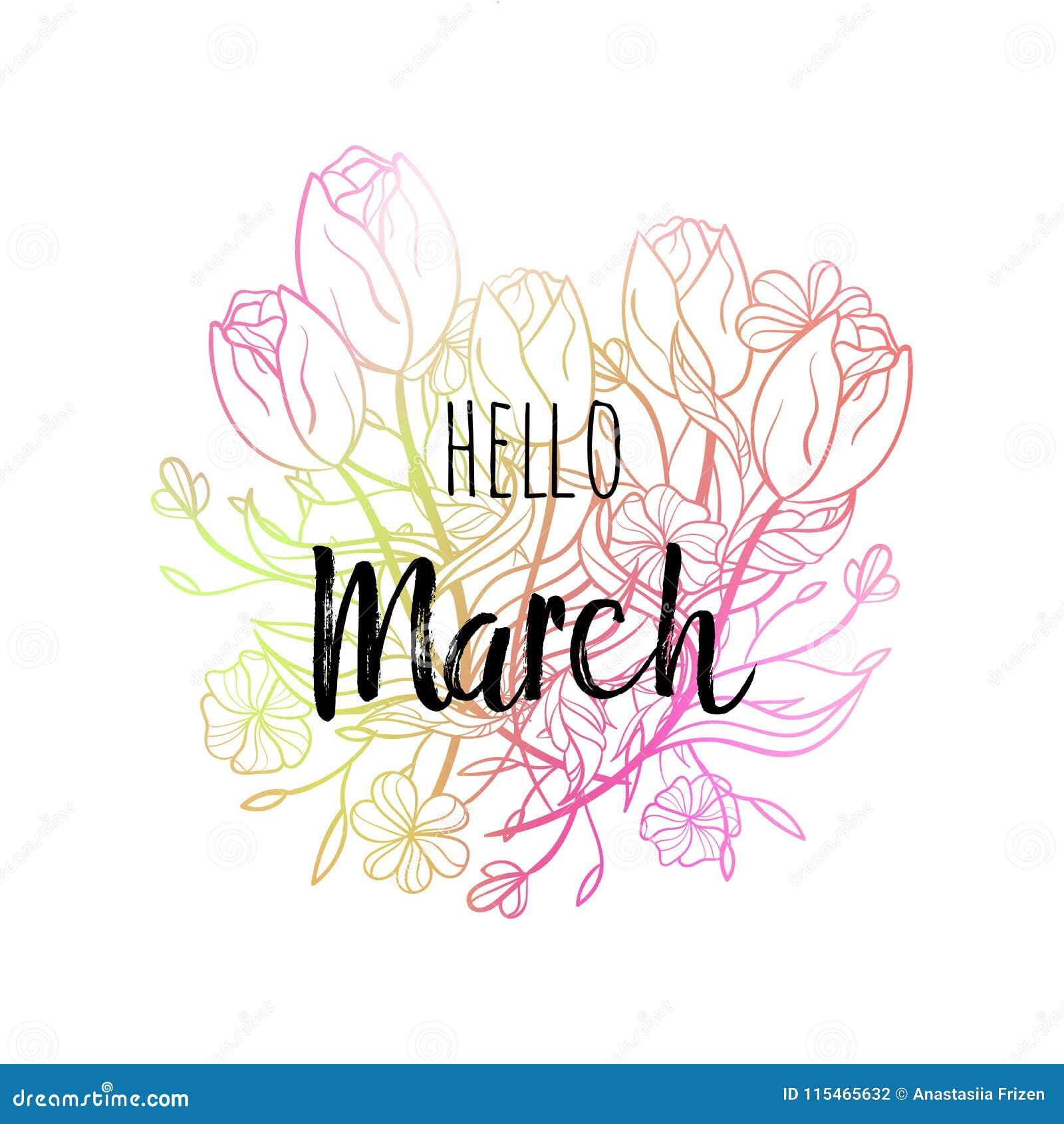Cześć Marzec Plakat Z Tulipanami I Kwiatami Motywacyjny Druk