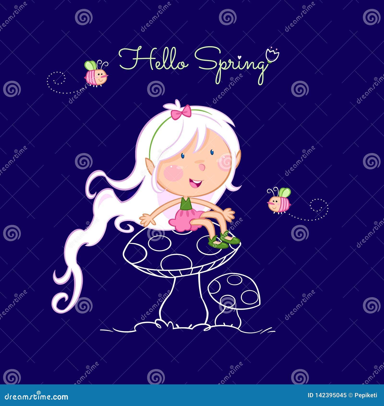 Cześć wiosna śliczna mała czarodziejka i pszczoła -