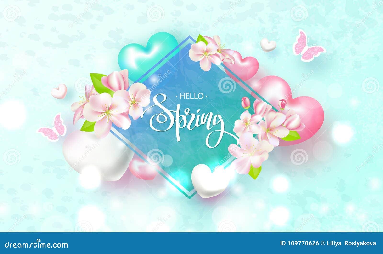 Cześć wiosna Piękny tło z kwiatami, sercami i motylami, również zwrócić corel ilustracji wektora