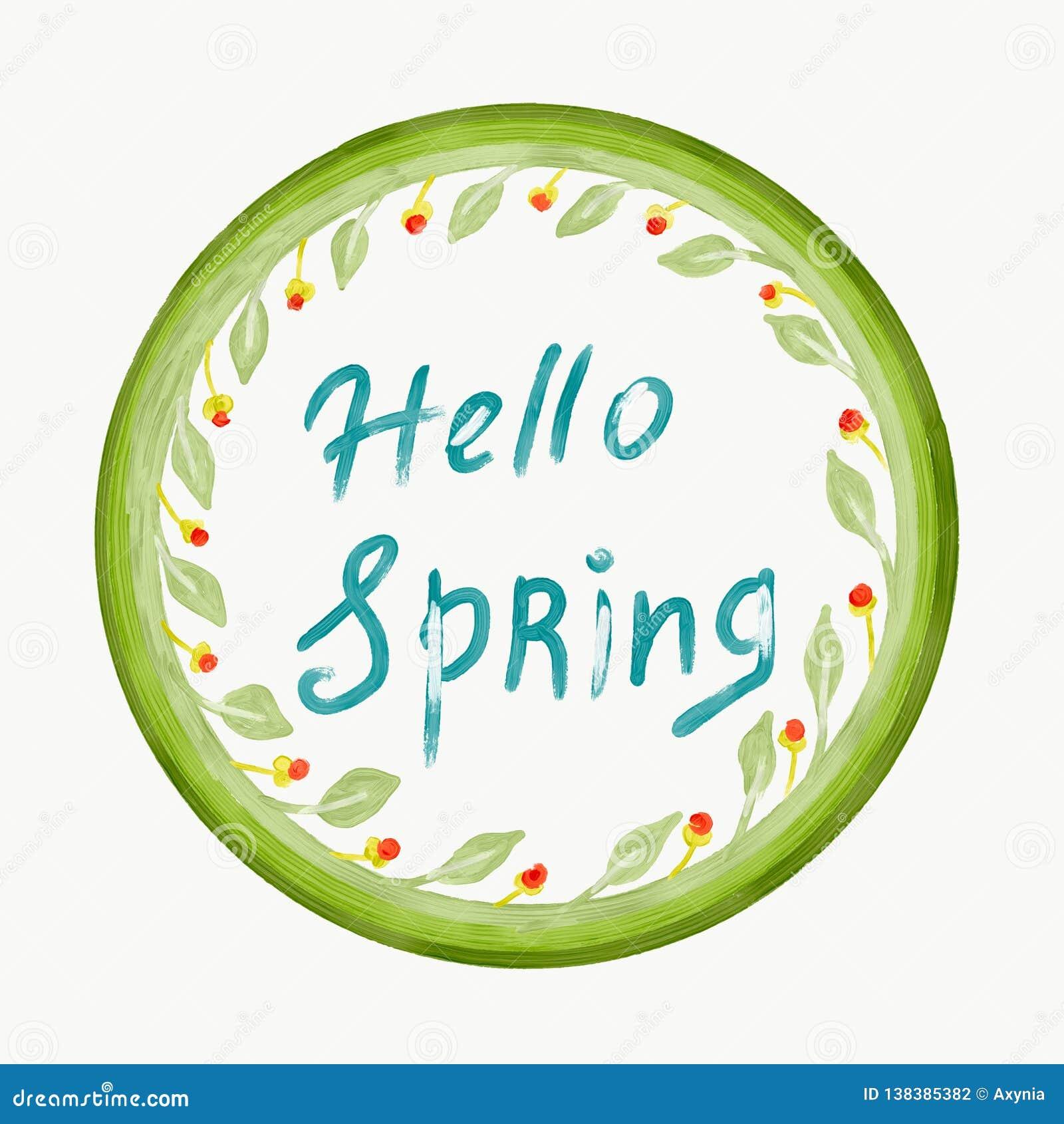 Cześć wiosny pojęcie Zieleń kwiaty w okręgu kształcie i liście Doodle styl rysujący cyfrowy obraz ręcznie
