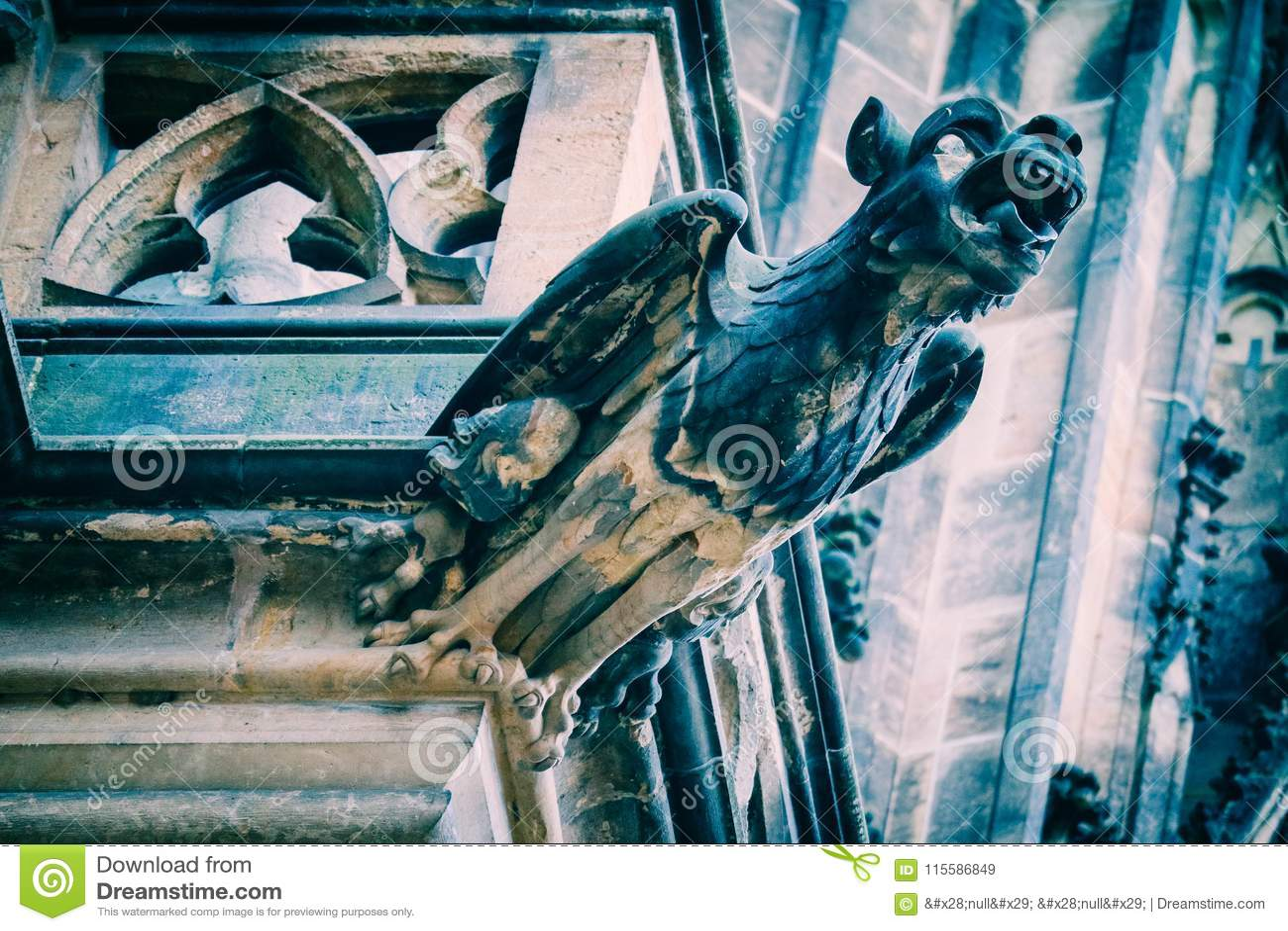 Czech architecture, scary gargoyle sculpture, gothic temple deco