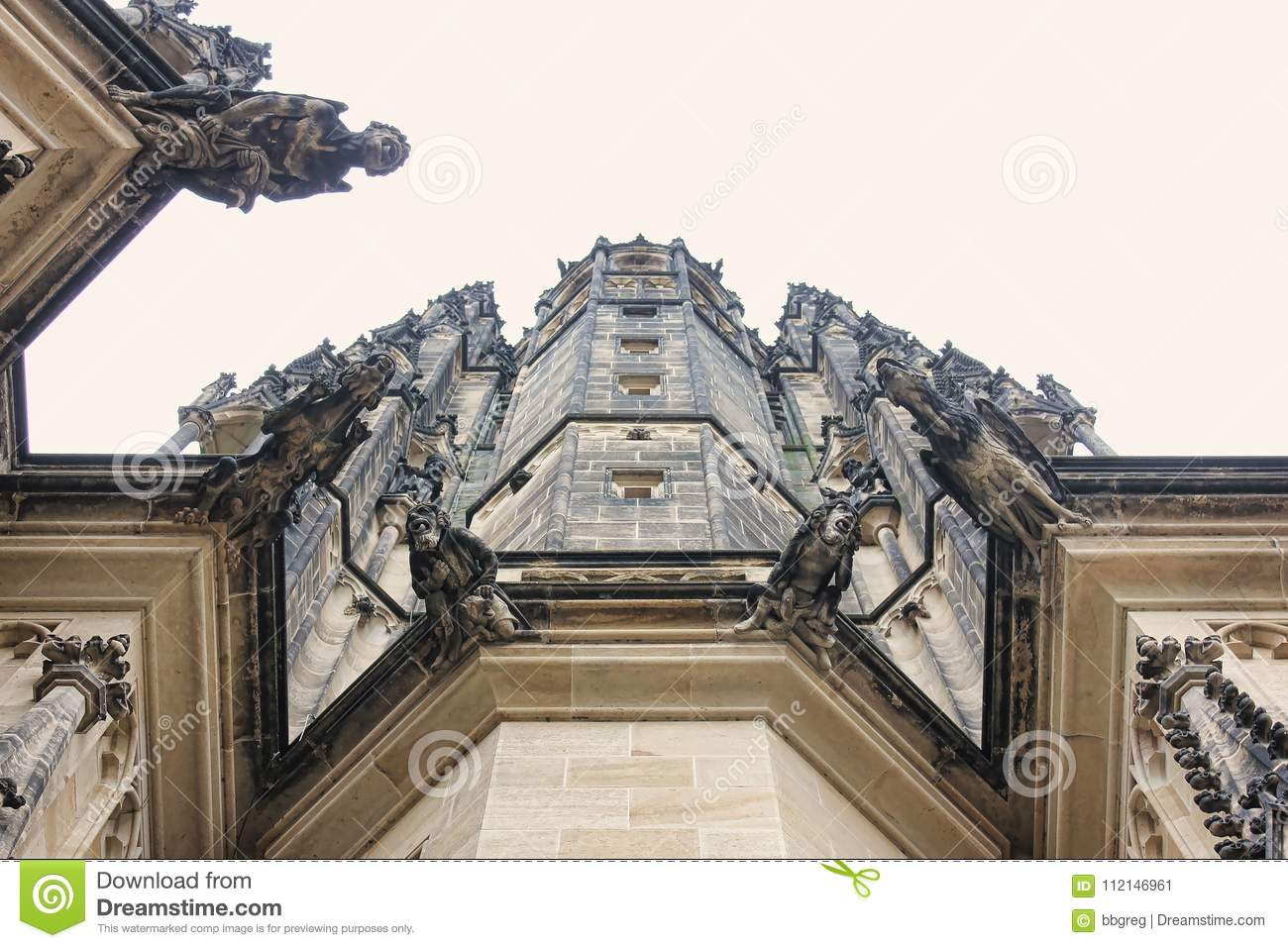 Czech architecture, scary gargoyle sculpture, gothic temple decoration. Medieval art, mystic gargoyle monster statue, St. Vitus Ca