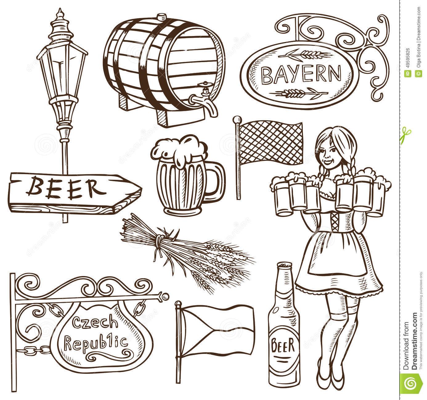 Czech Beer And Bavarian Drawing Stock Vector Illustration Of