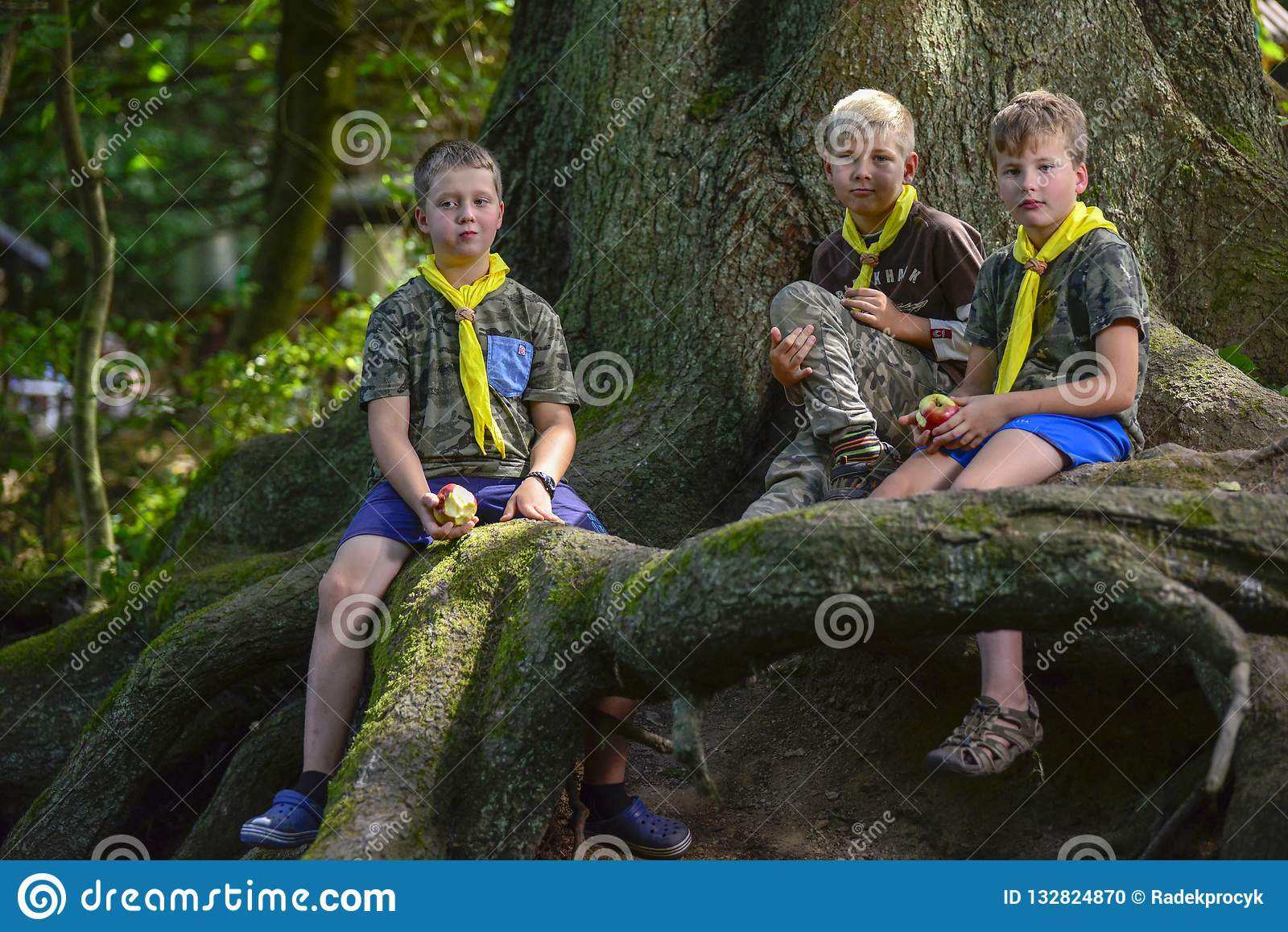 Czech Boy And Girl Scouts During Their Summer Camp  Czech