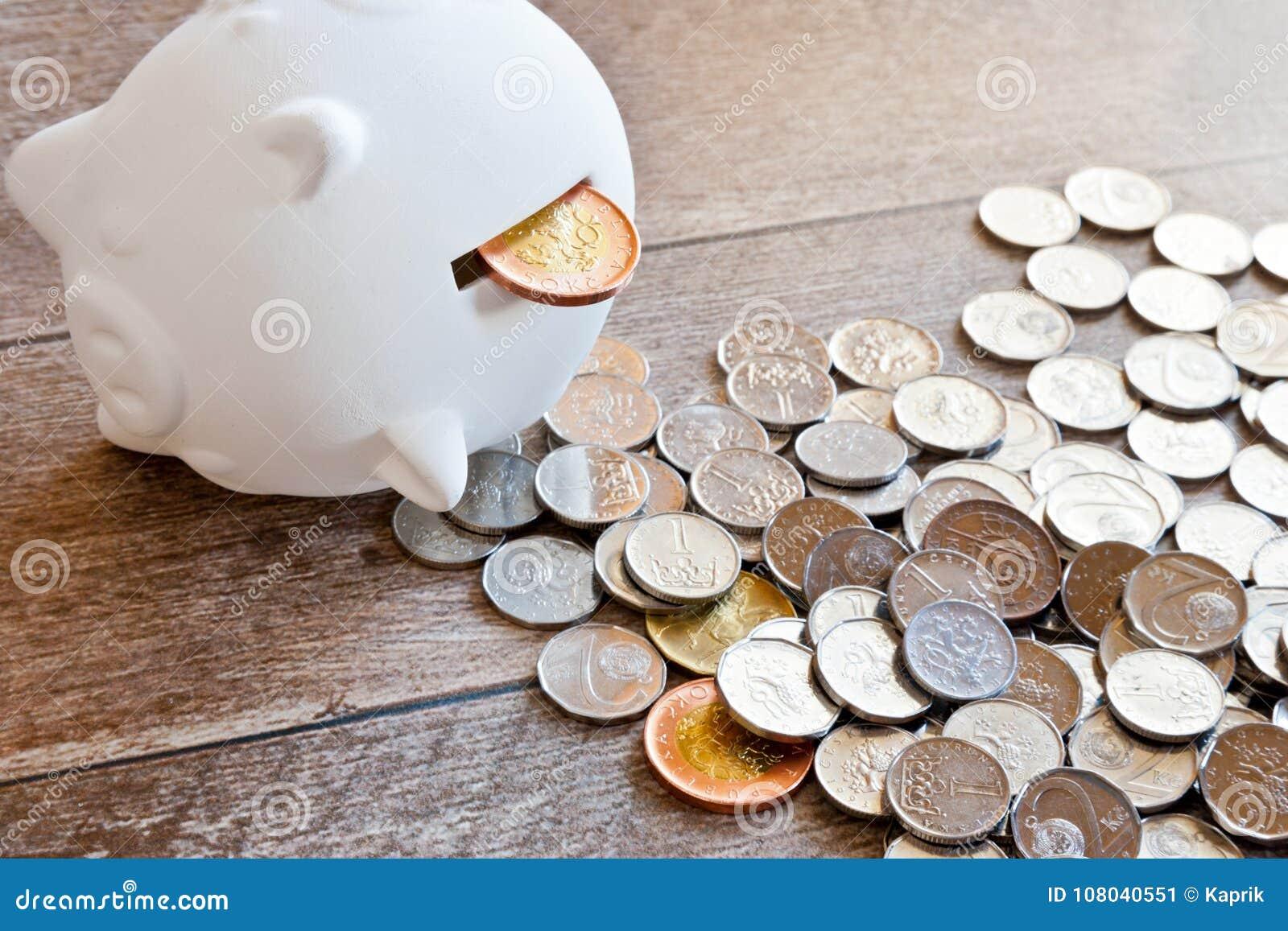 Czech finance and economy - Piggy bank and Czech crown money - c