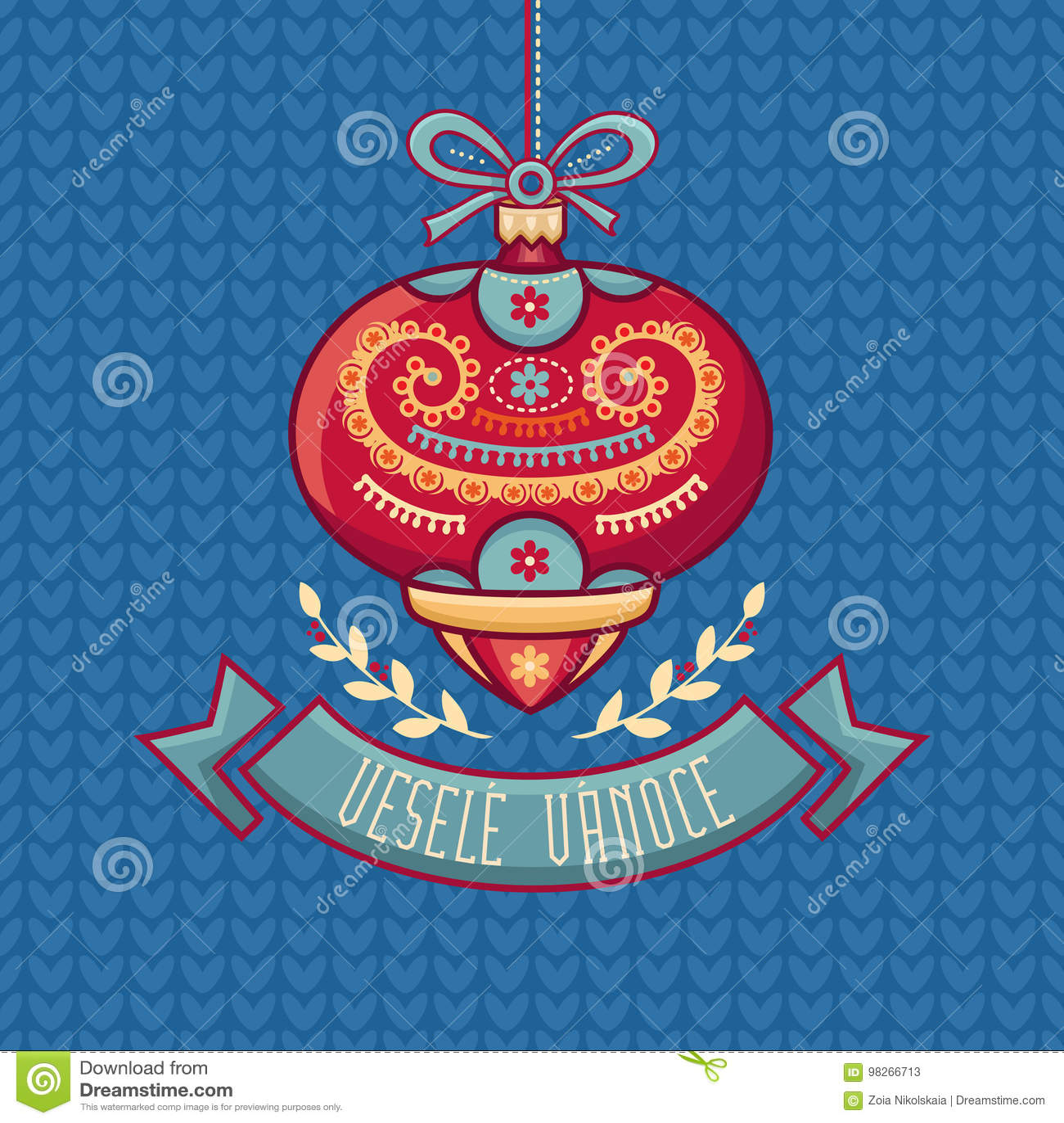 Czech Language. Vesele Vanoce. Christmas Message. Stock Vector ...