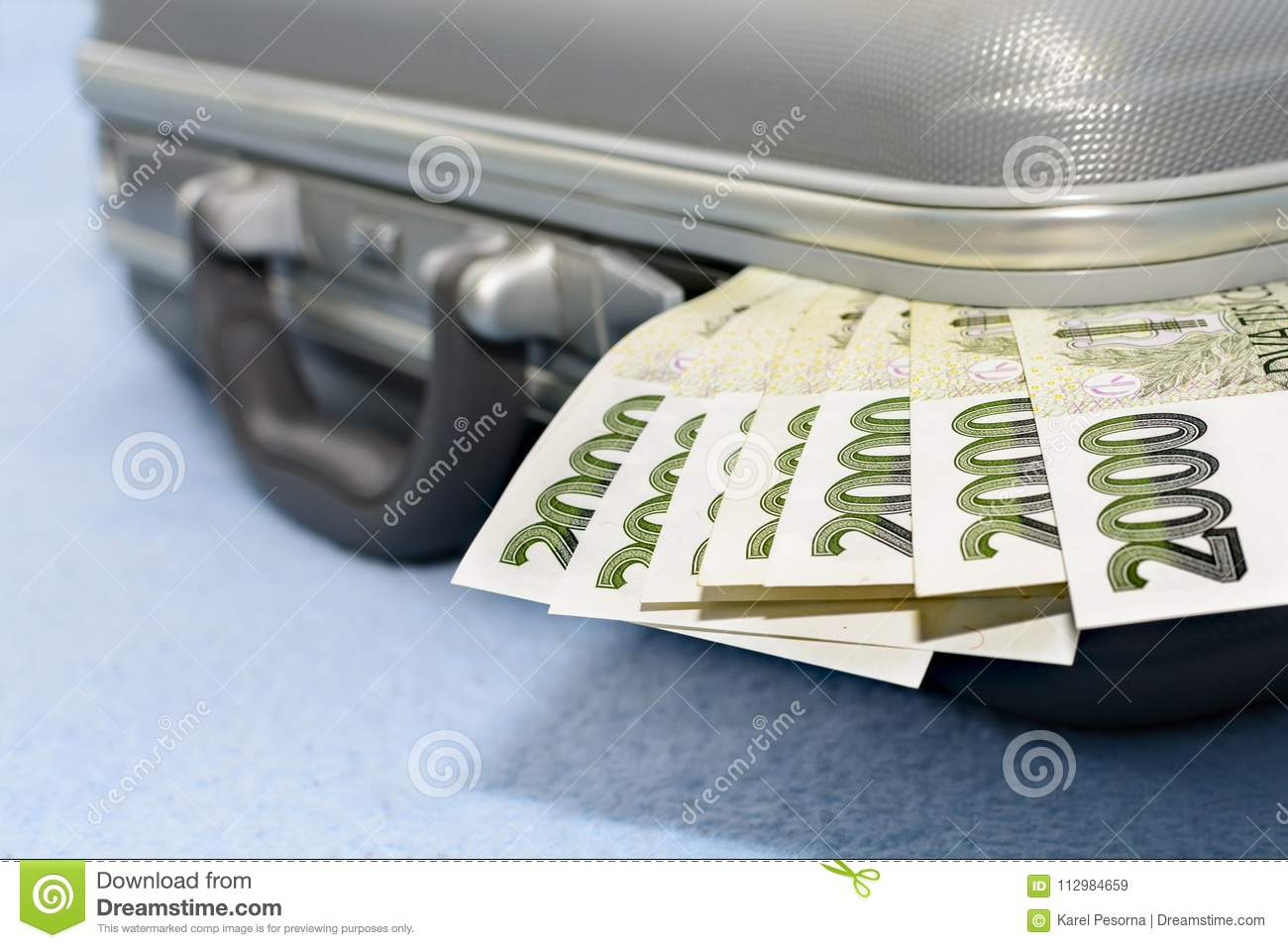 Czech money scratched in a gray metal suitcase