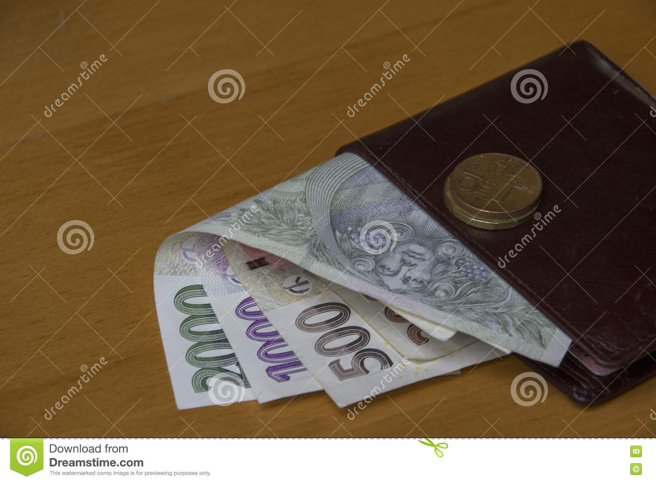 czech money on wallet stock image image of gathered 80789993