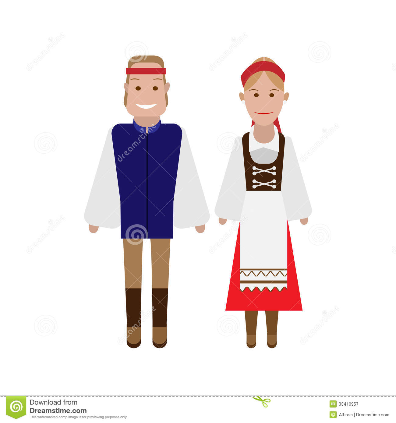 Czech National Costume Stock Vector Illustration Of
