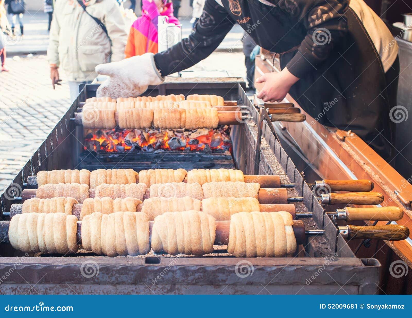 Czech National Winter Street Food Called Trdlo Trdelnic