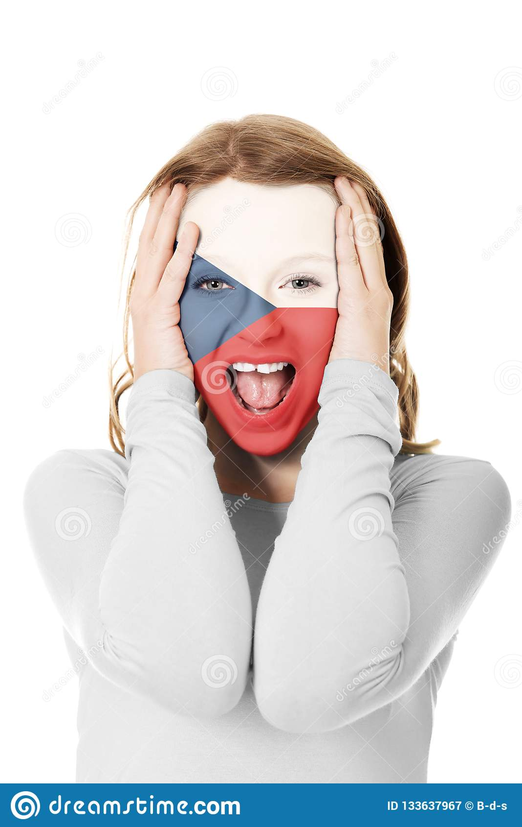 Czech Republic flag on woman`s face.