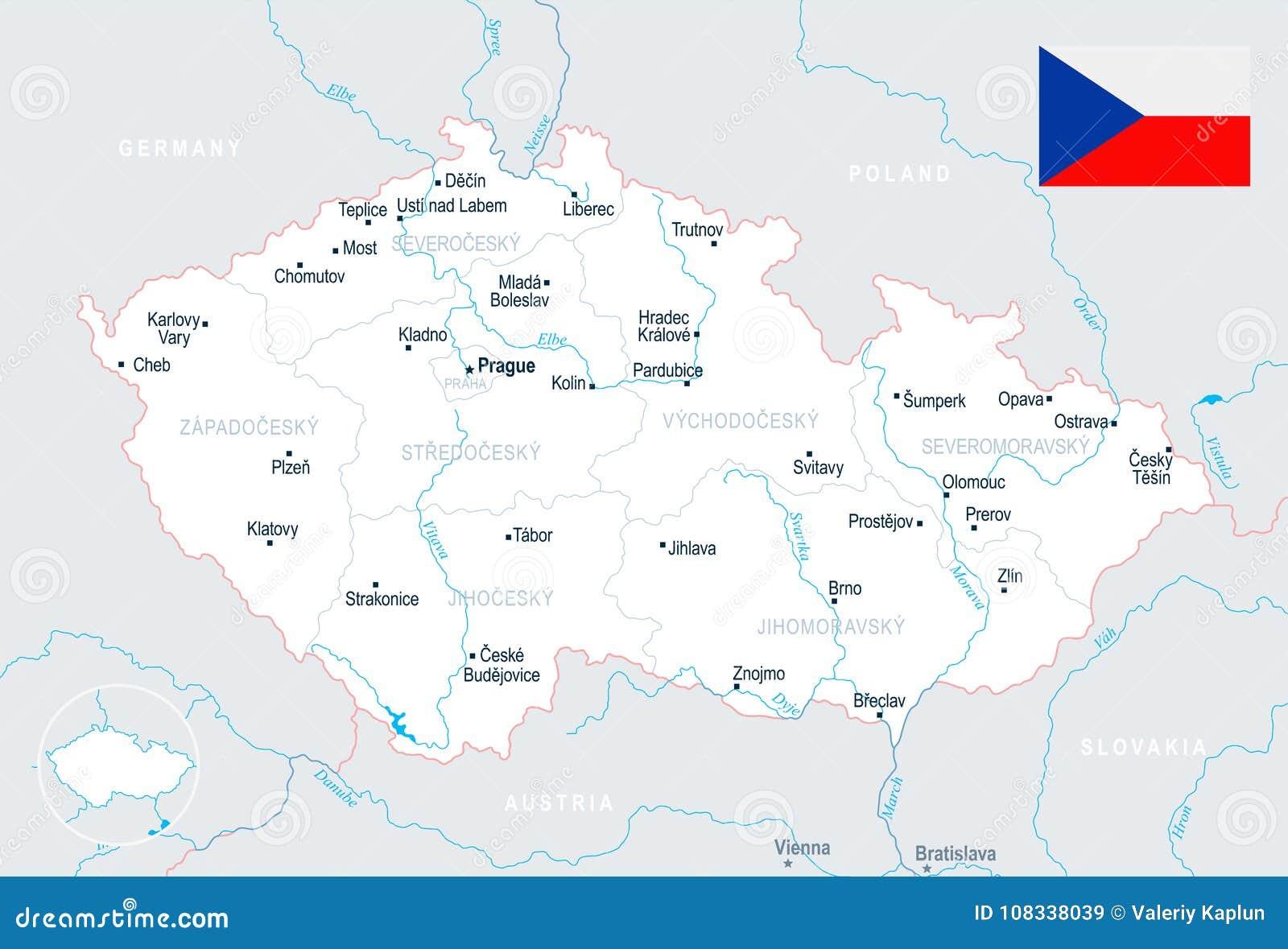 Czech Republic Map - Detailed Illustration Stock Illustration ...