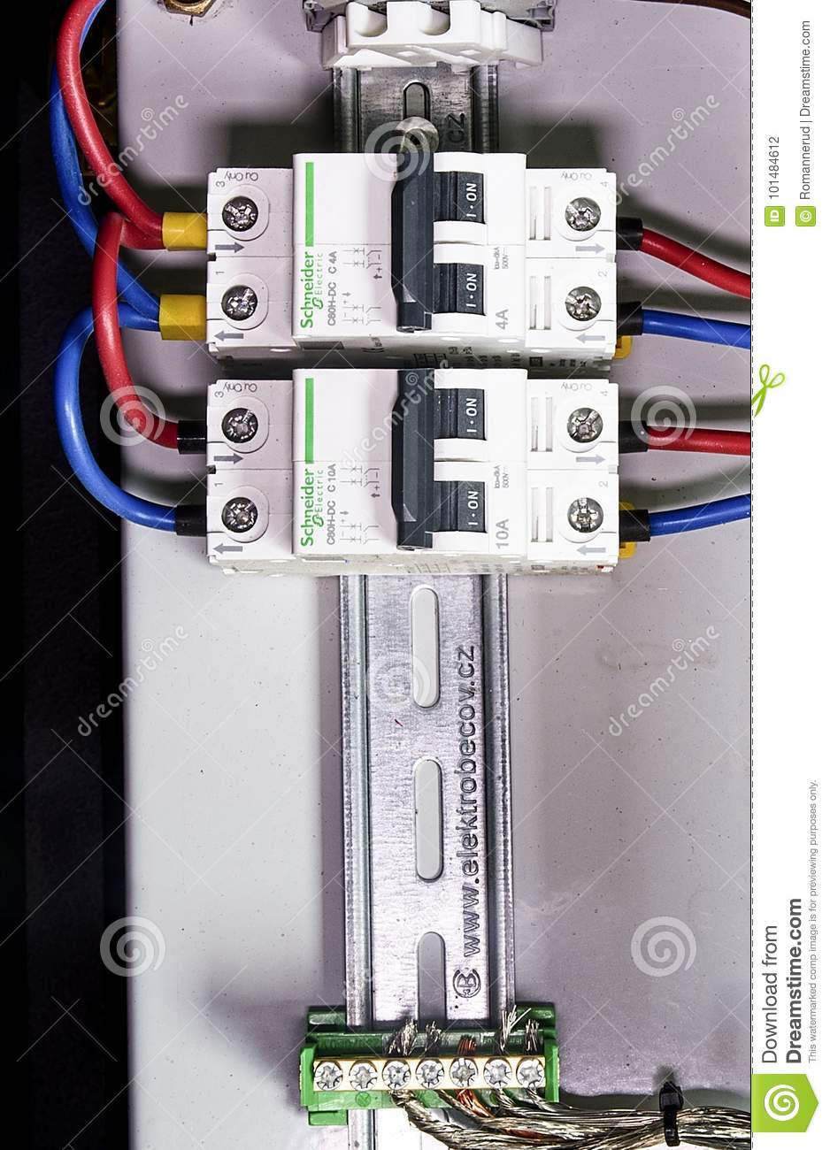 Schneider Circuit Breakers. Closeup. Multi Colored Wires. Editorial ...