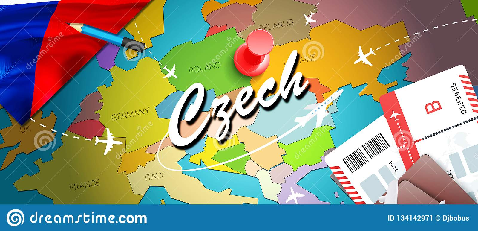 Czech travel concept map background with planes, tickets. Visit Czech travel and tourism destination concept. Czech flag on map.