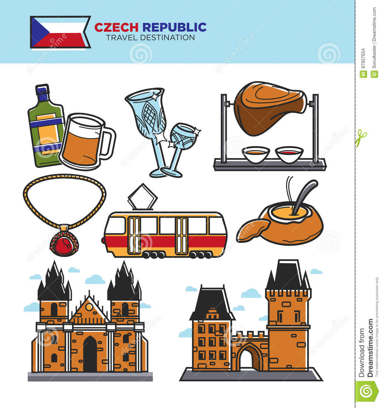 Czech Travel Tourism Landmarks And Culture Famous Sightseeing Vector