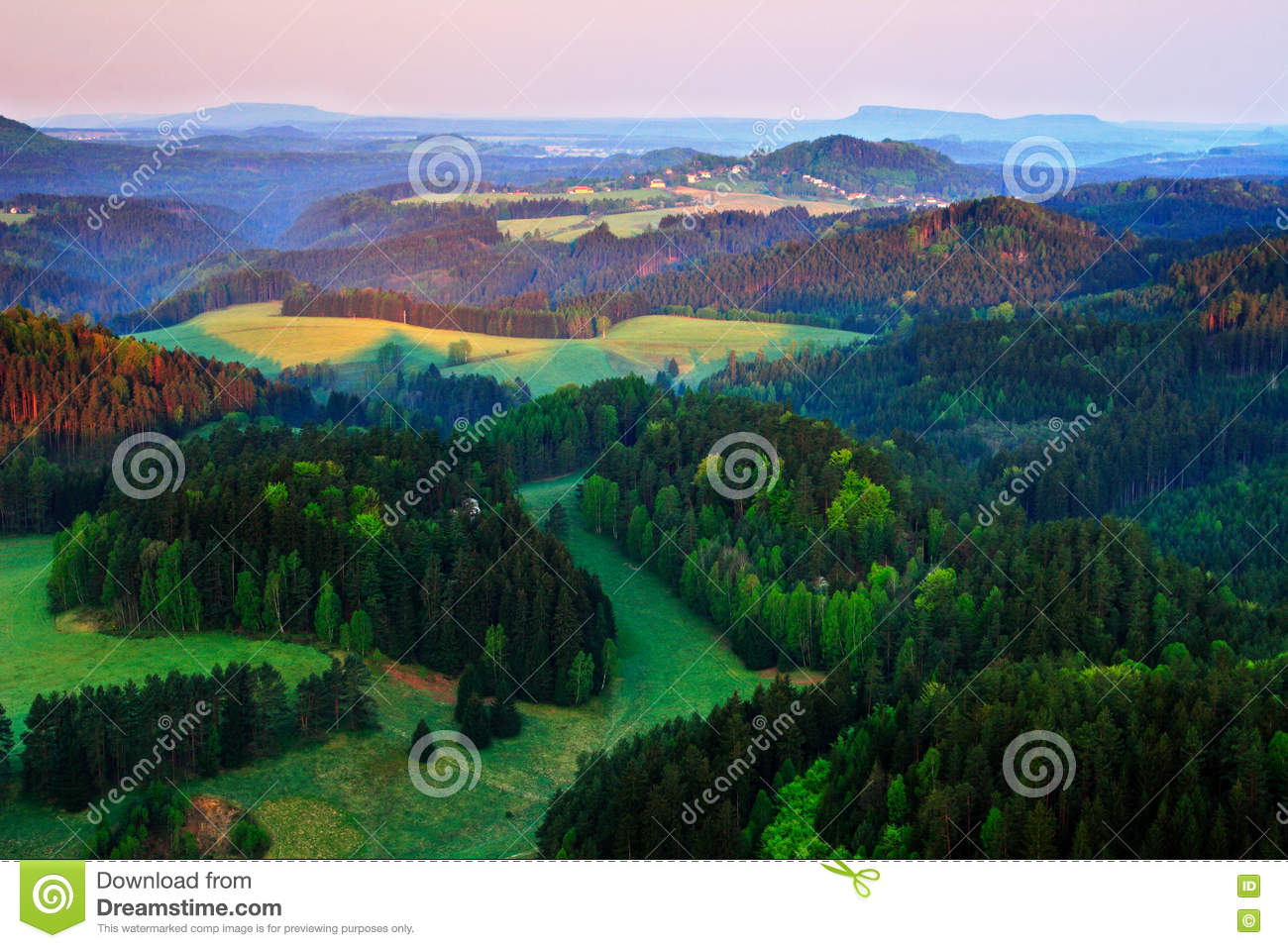 Hills Landscape With Inversion Stock Photography