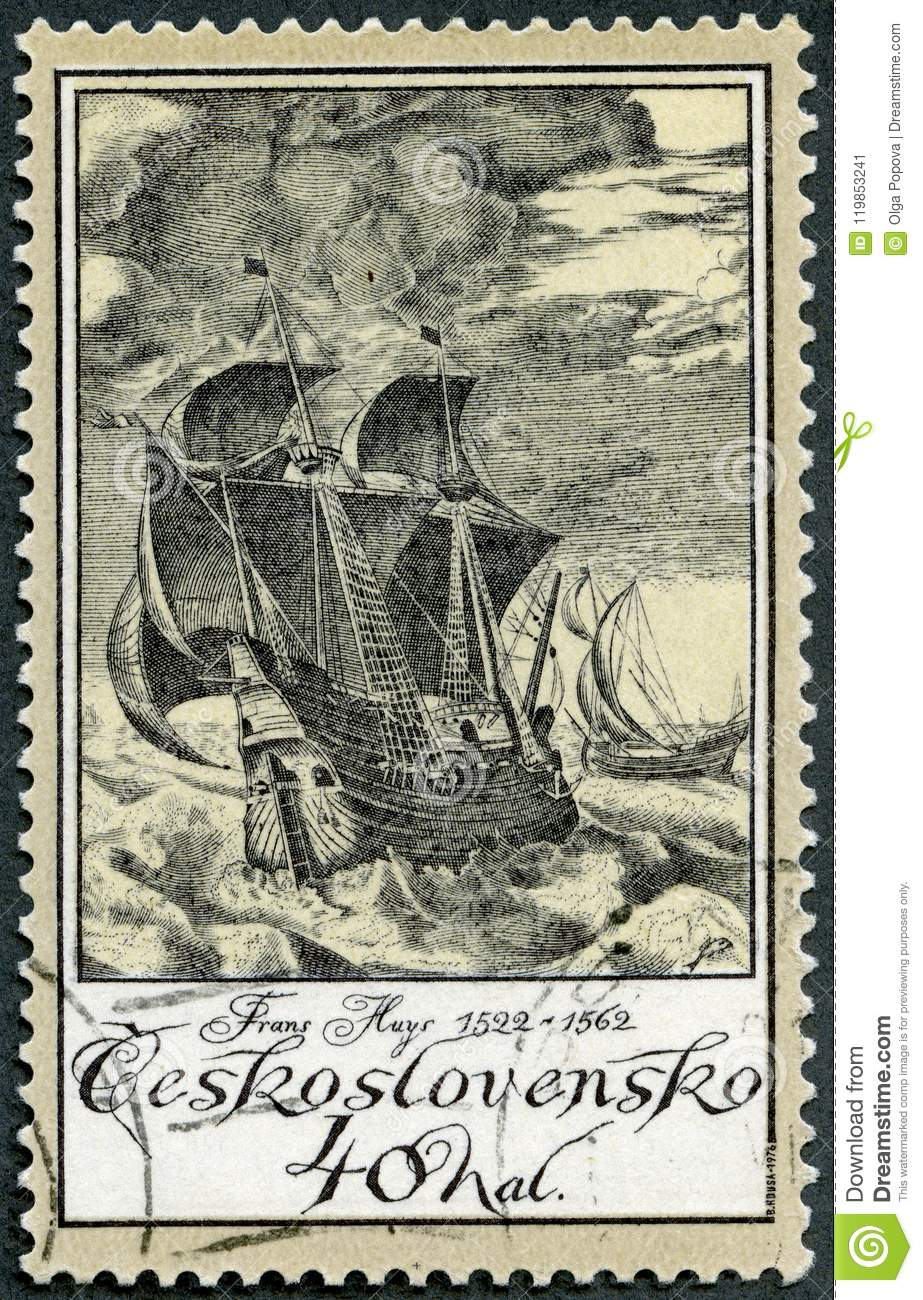 CZECHOSLOVAKIA - 1976: shows Ships in Storm by Frans Huys 1522-1562, series