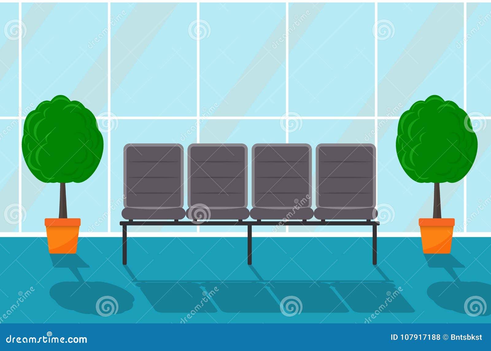 Czekanie sala w niektóre budynku biurowym korytarz Krzesła i dekoracyjni drzewa w garnkach, wielki okno Wektorowa płaska ilustrac