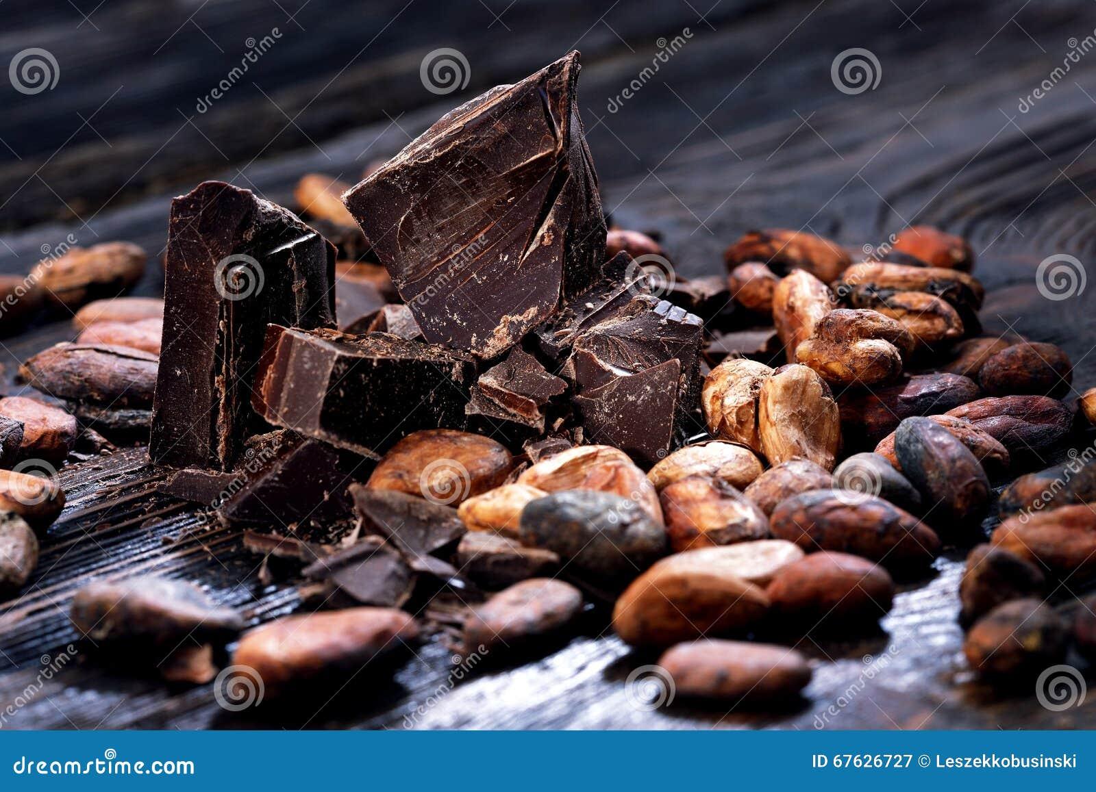 Czekolada kawałki i kakaowe fasole