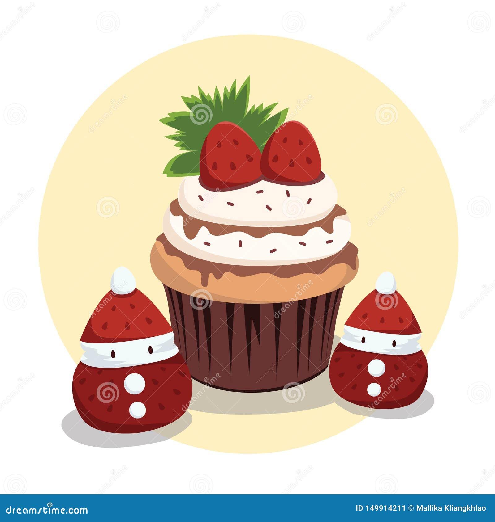 Czekoladowe Truskawkowe babeczki z Małym Santa