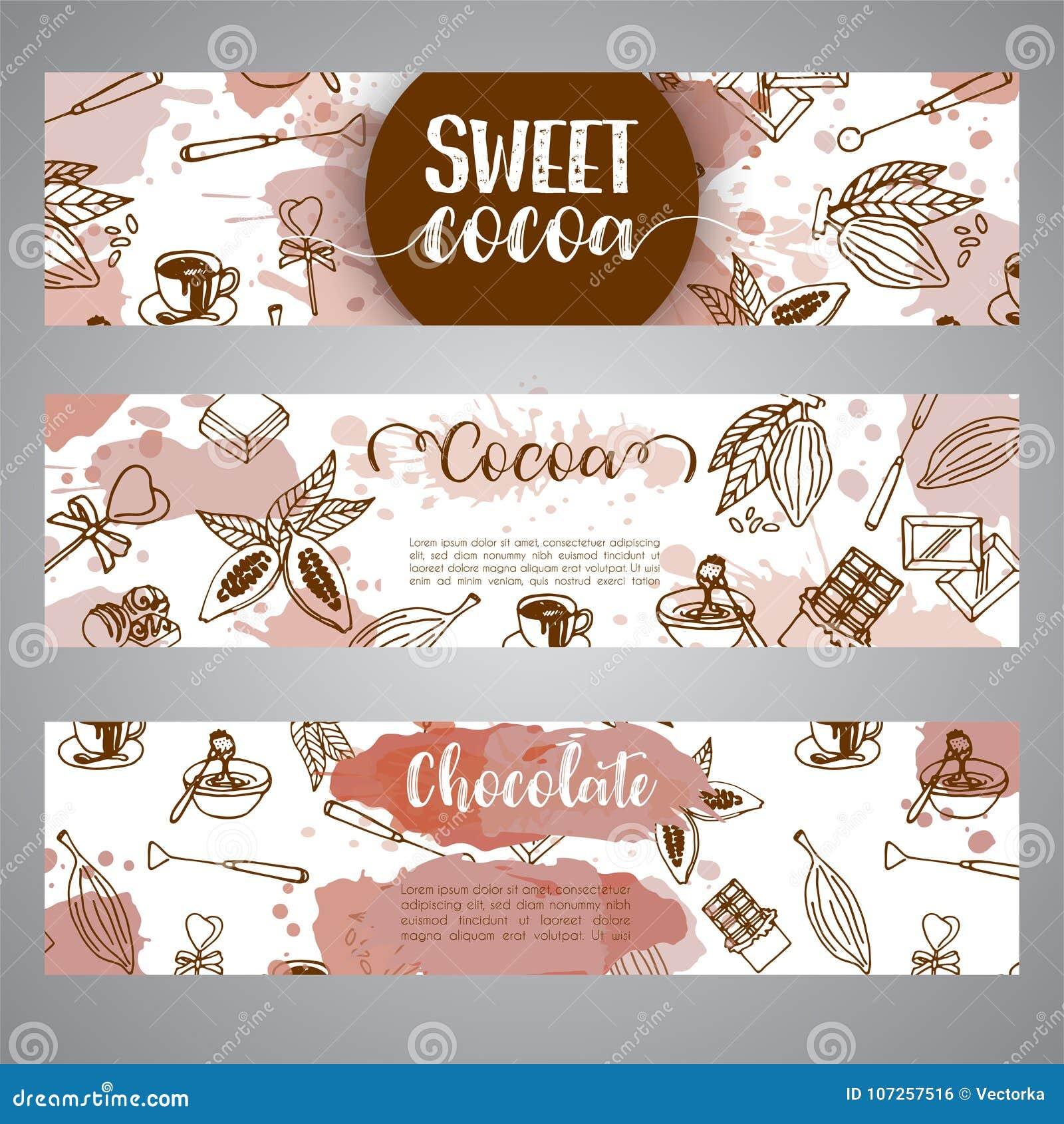 Czekoladowi cacao nakreślenia sztandary Projektuje menu dla restauraci, sklep, ciasteczko cukierniany, kulinarny, bufet, bar kaka