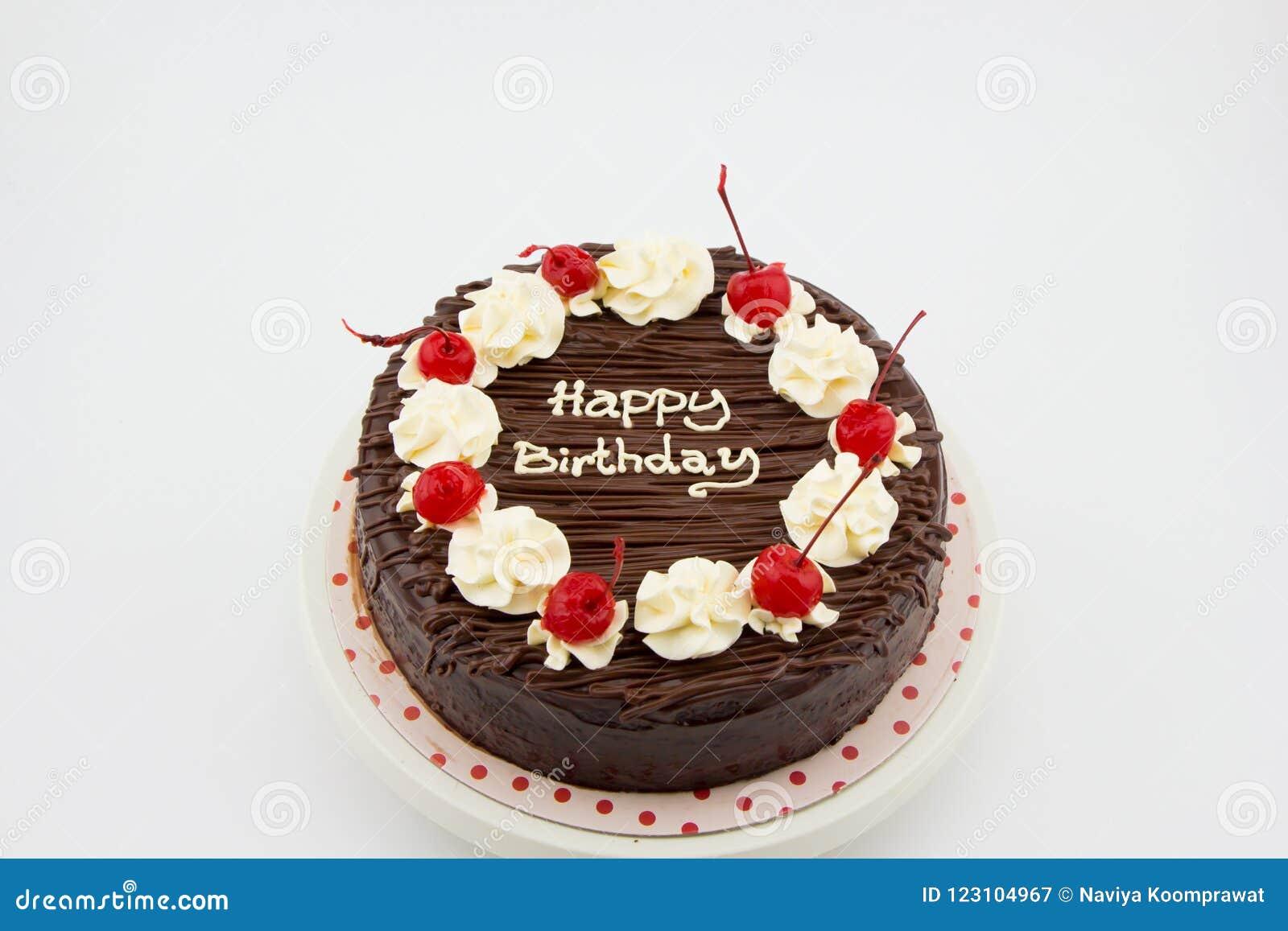 Czekoladowy tort, Czekoladowego Fudge tort z wszystkiego najlepszego z okazji urodzin wiadomością
