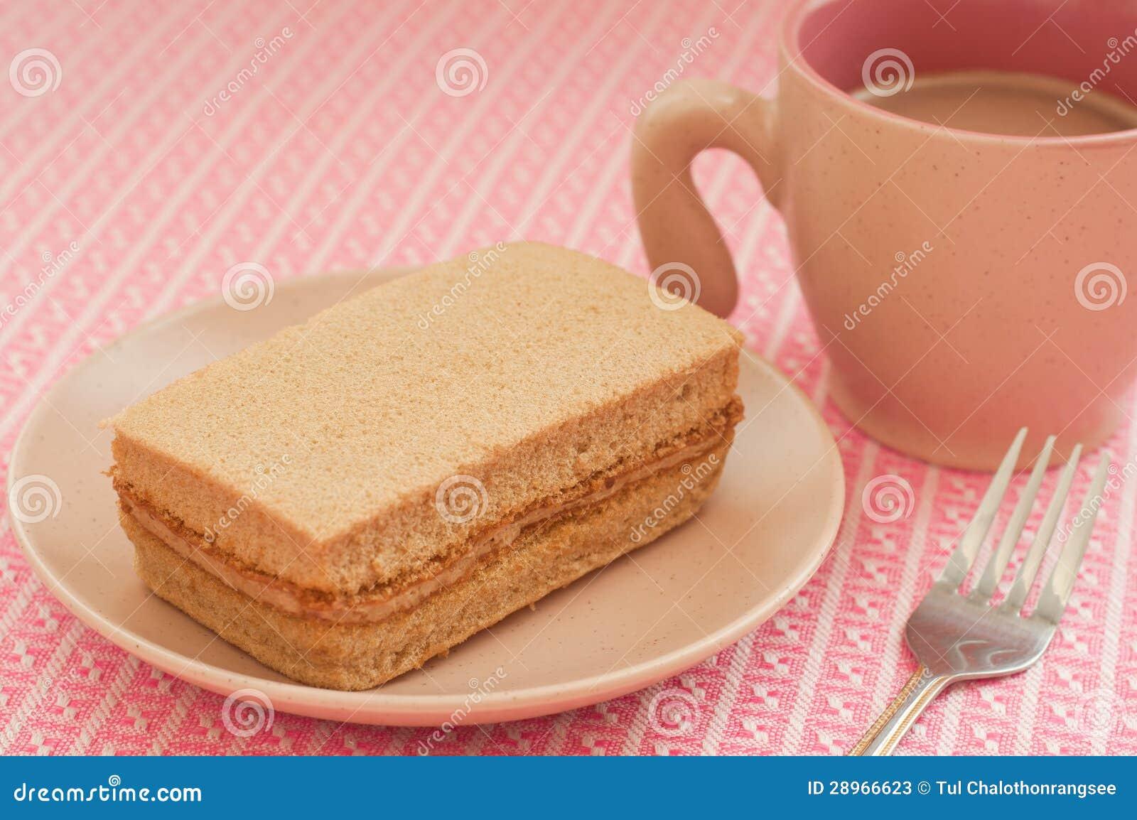 Czekoladowy warstwa tort z kawą