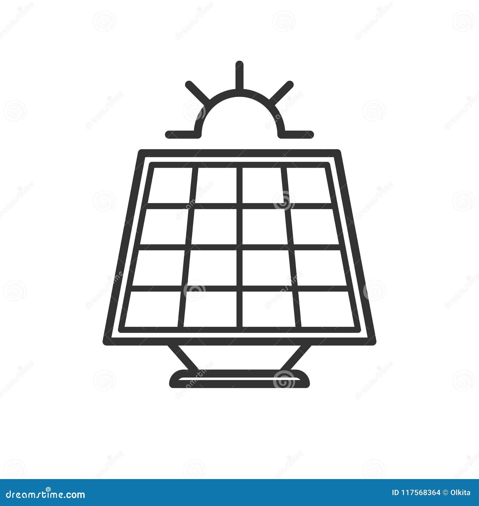 Czerń odizolowywał kontur ikonę panel słoneczny z słońcem na białym tle Kreskowa ikona słoneczna bateria