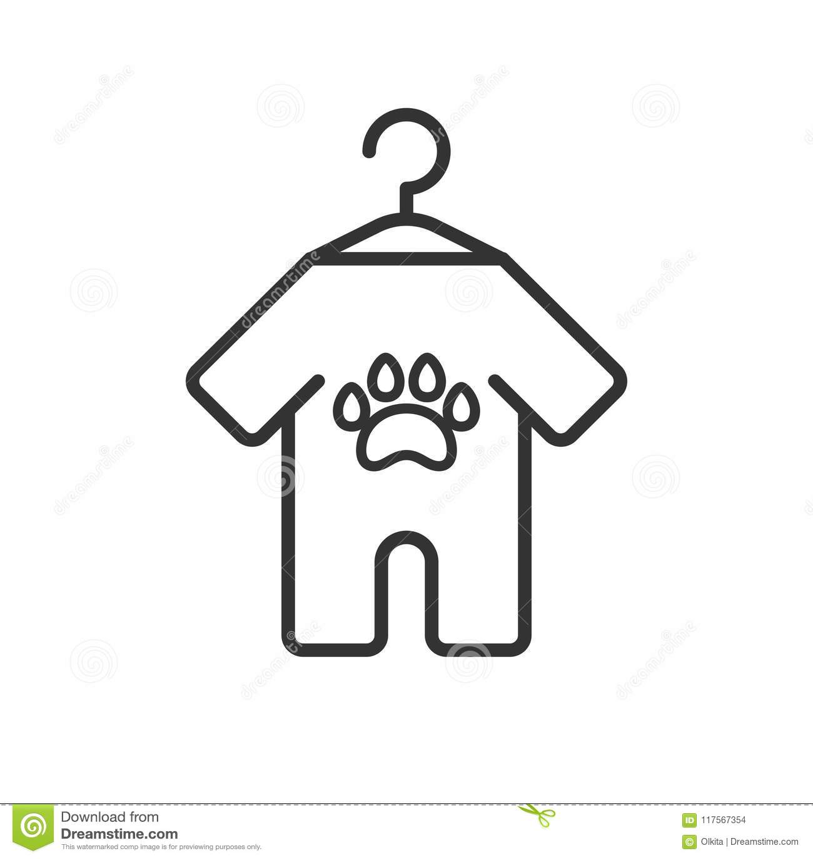 Czerń odizolowywająca kontur ikona zwierzęta odziewa na białym tle Kreskowa ikona odziewa dla psa